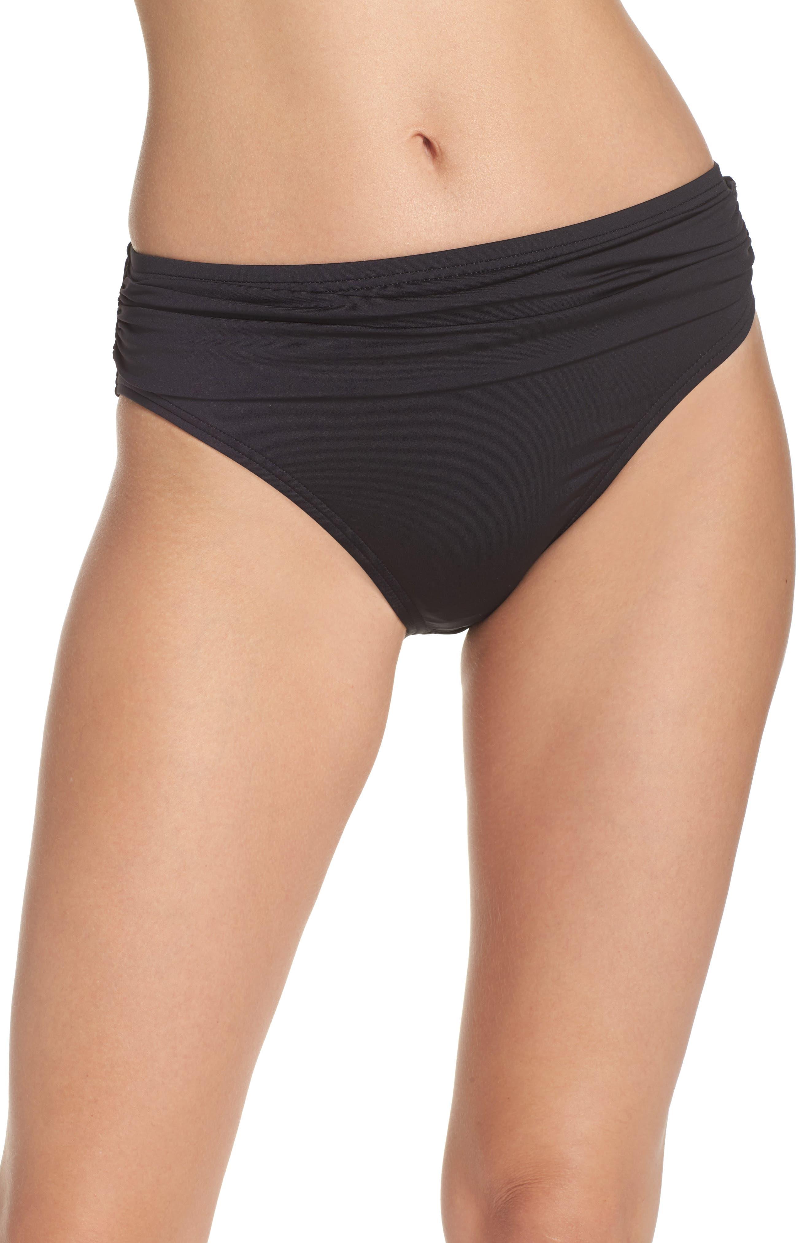 TOMMY BAHAMA,                             'Pearl' High Waist Bikini Bottoms,                             Main thumbnail 1, color,                             BLACK