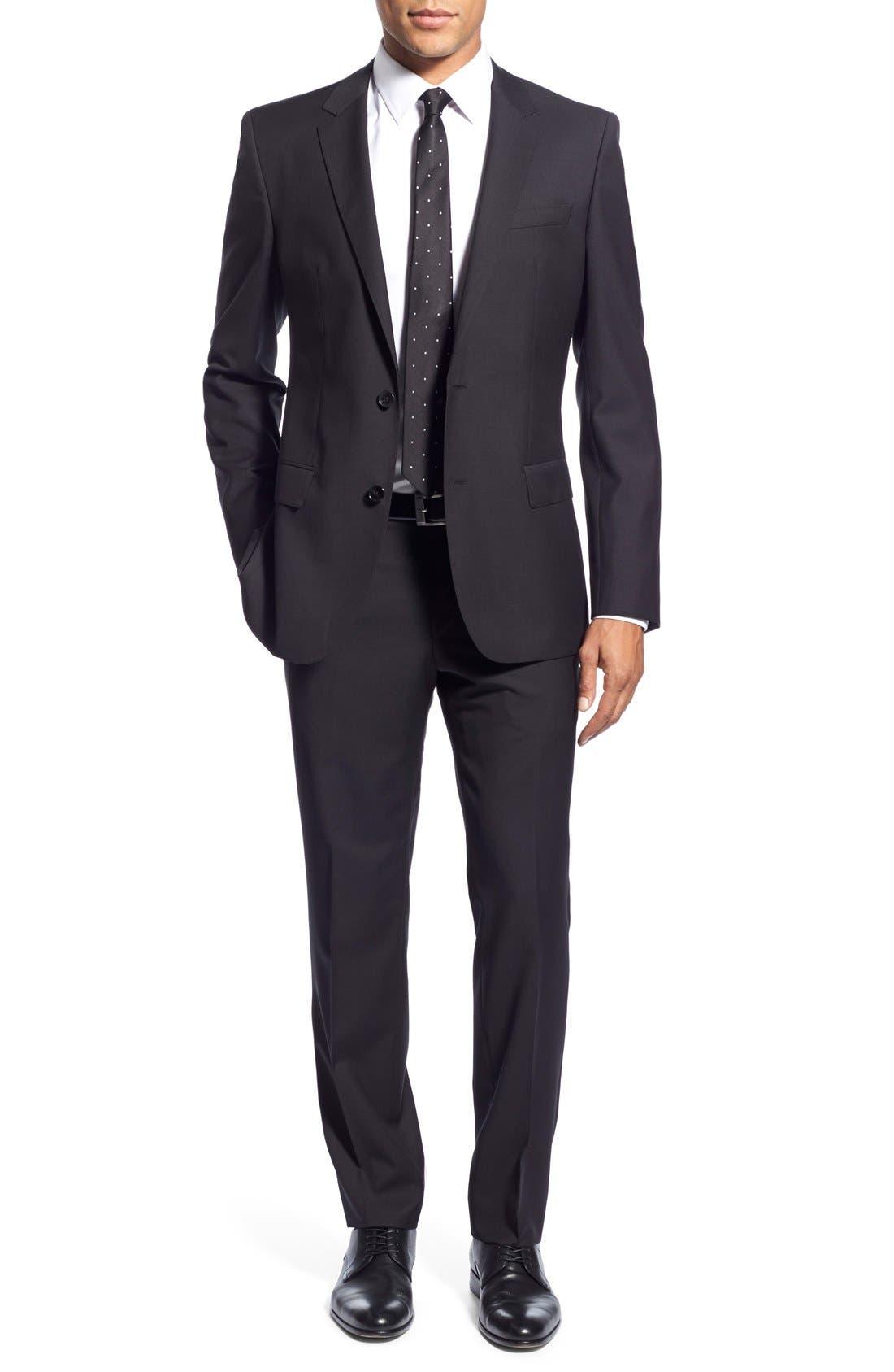 'Huge/Genius' Trim Fit Solid Wool Suit,                         Main,                         color, BLACK