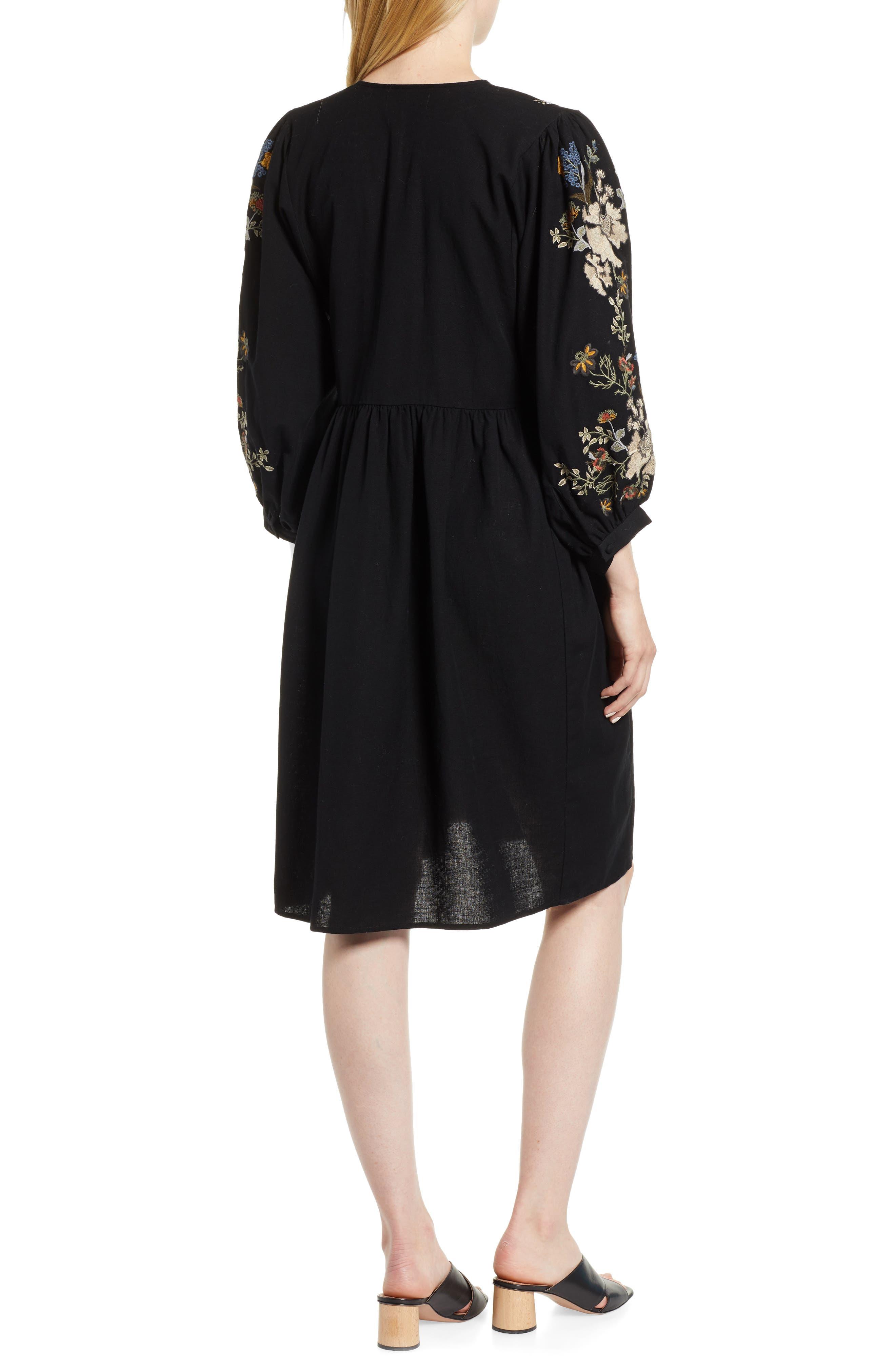 Embroidered Peasant Dress,                             Alternate thumbnail 2, color,                             BLACK