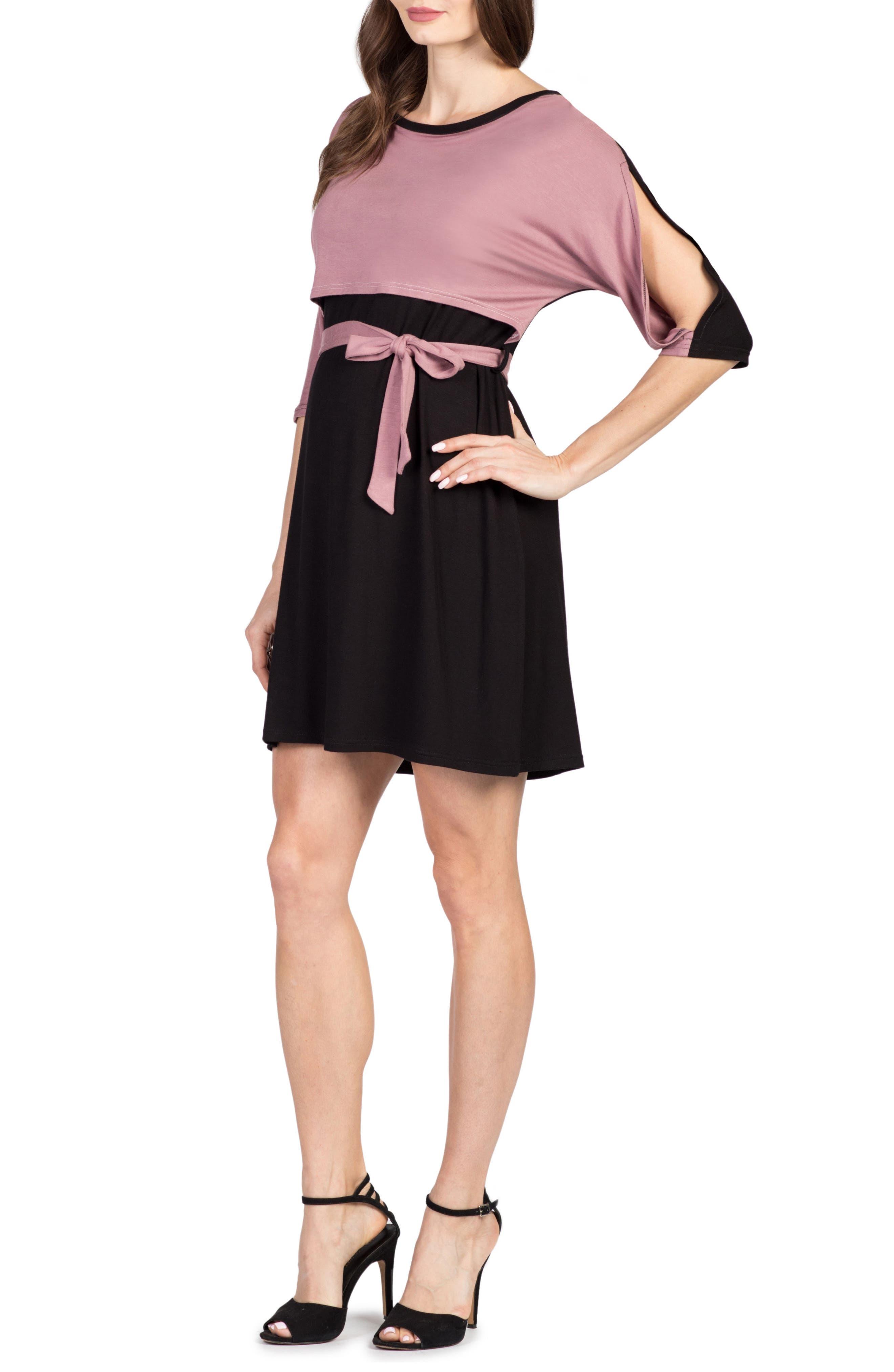 Siena Maternity/Nursing Dress,                             Alternate thumbnail 3, color,                             BLACK/ MAUVE