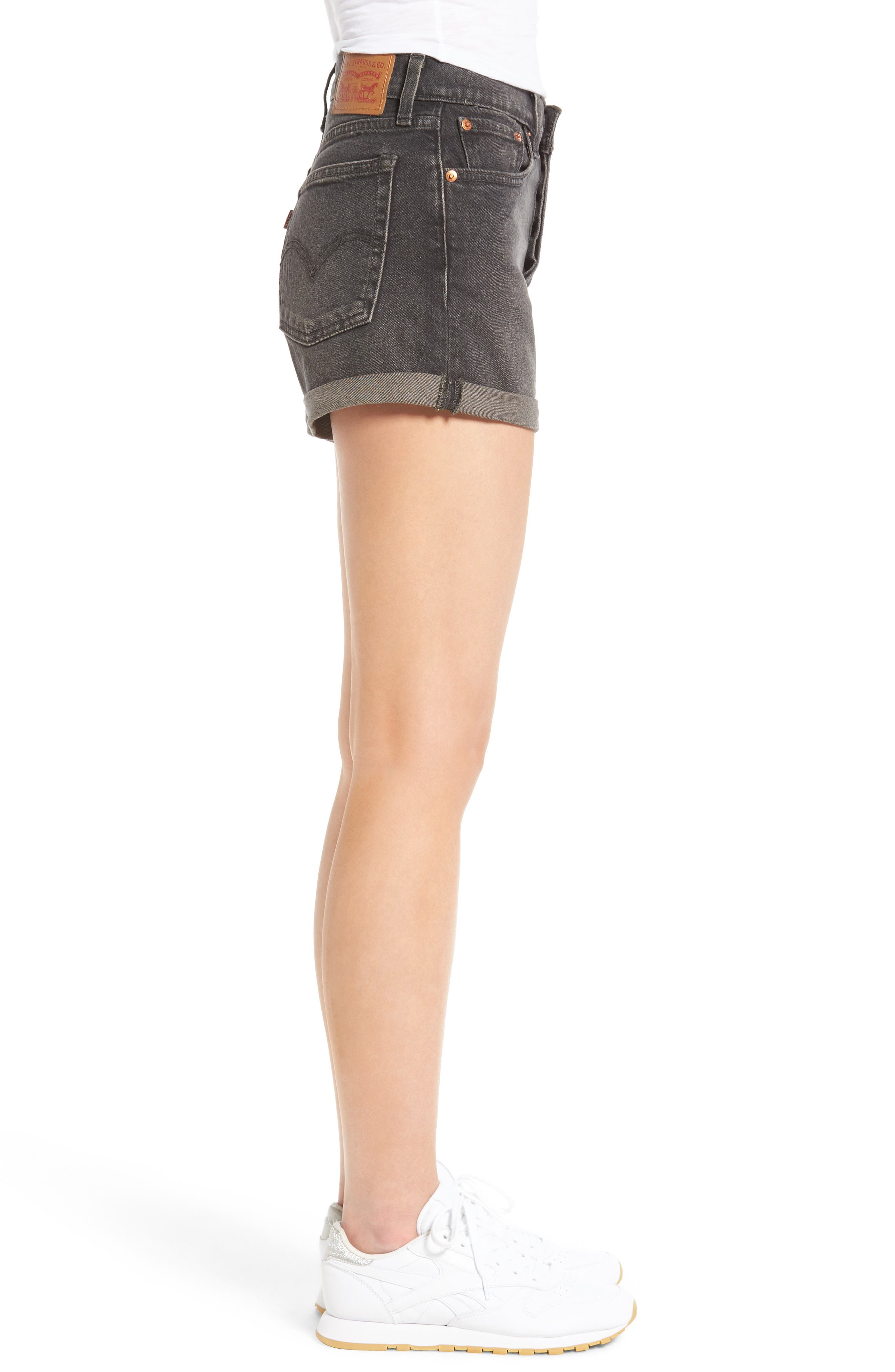 Wedgie High Waist Denim Shorts,                             Alternate thumbnail 3, color,                             001