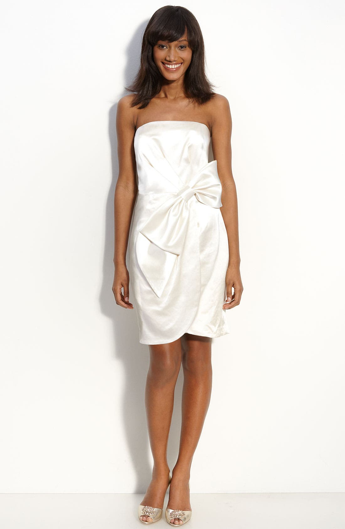Bow Front Strapless Satin Dress,                             Main thumbnail 1, color,