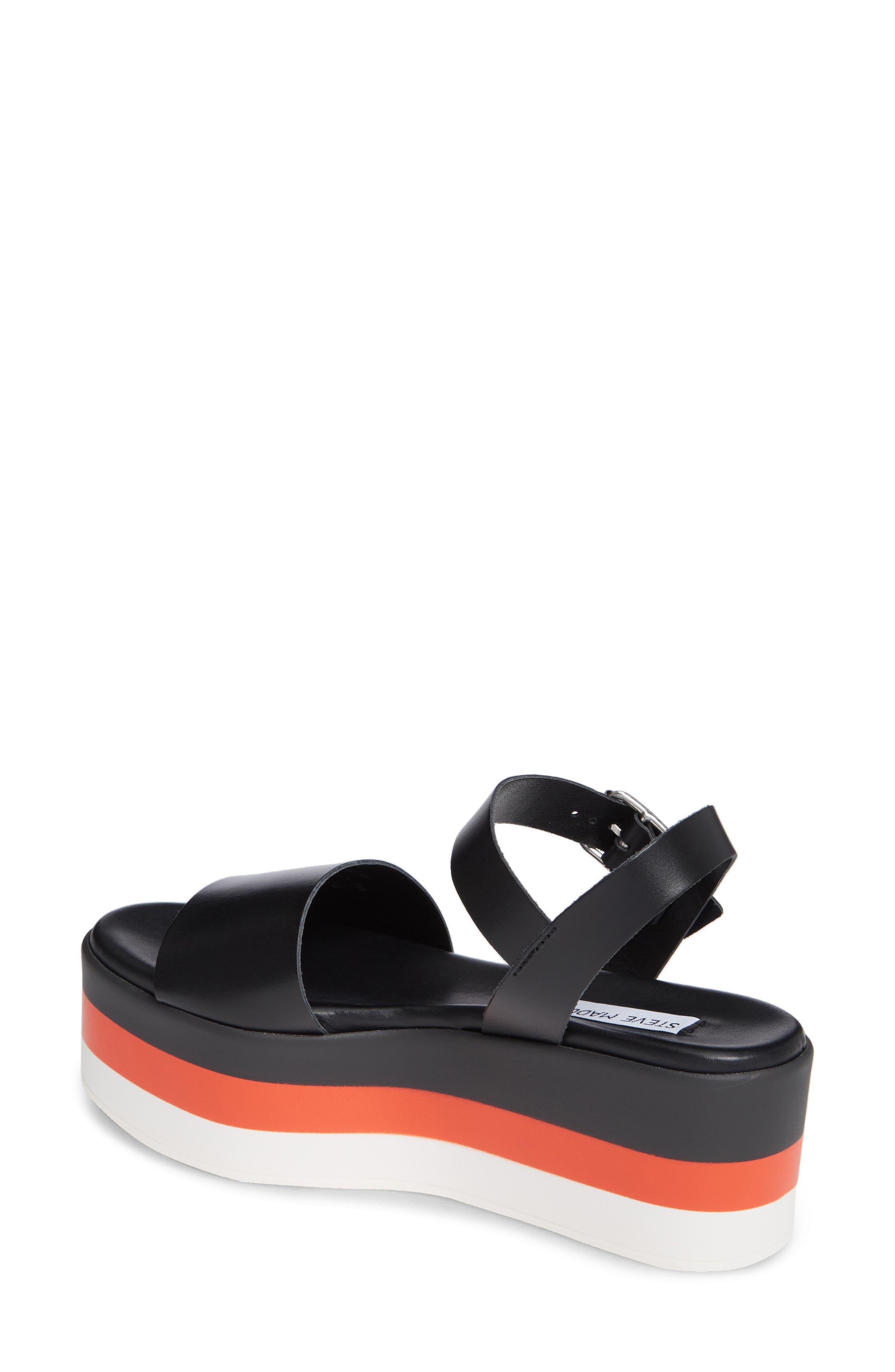 Holly Stripe Platform Sandal,                             Alternate thumbnail 2, color,                             BLACK LEATHER