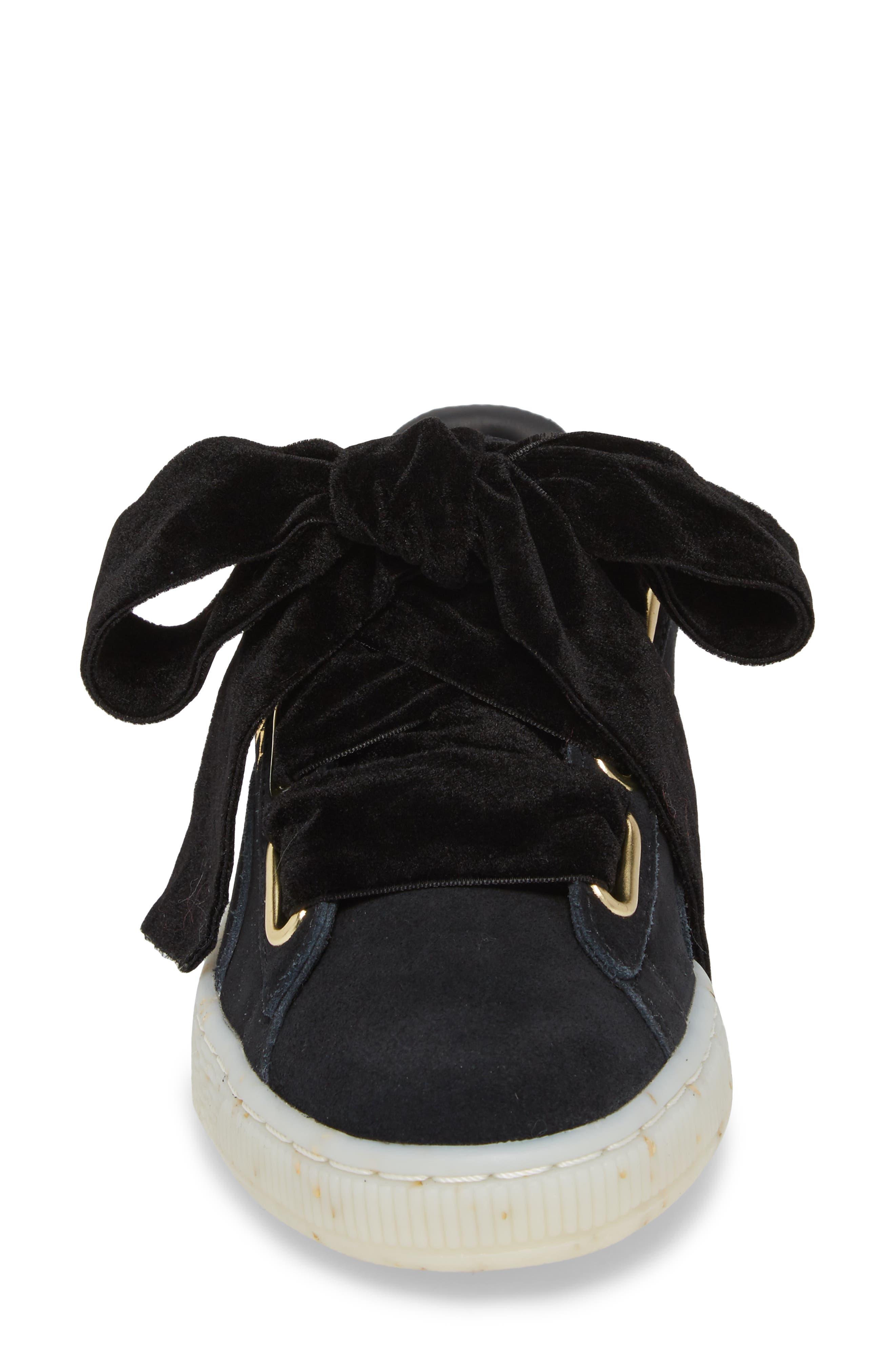 Suede - Heart Sneaker,                             Alternate thumbnail 4, color,                             002