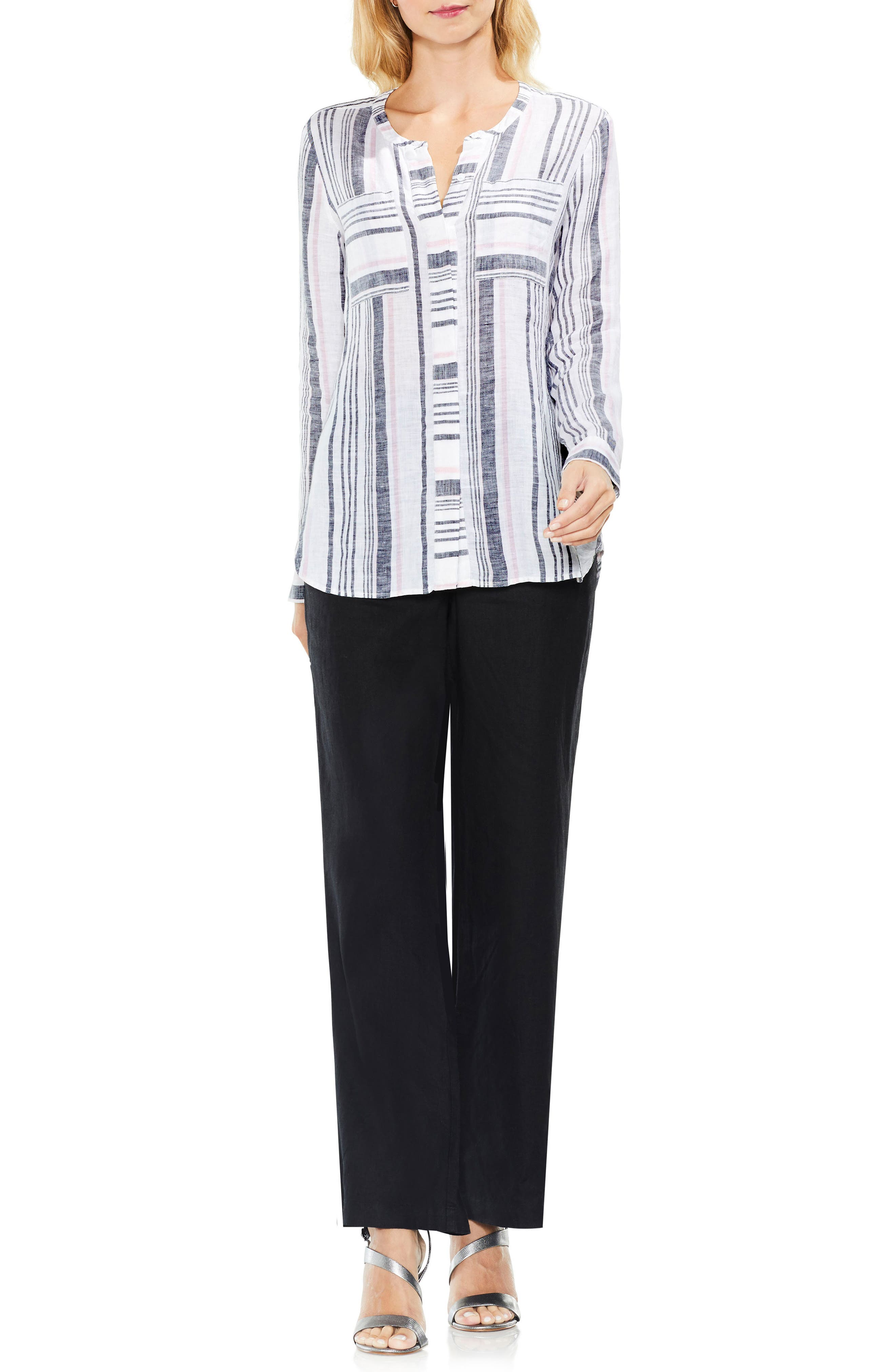 Variegated Step Stripe Top,                             Alternate thumbnail 3, color,                             652