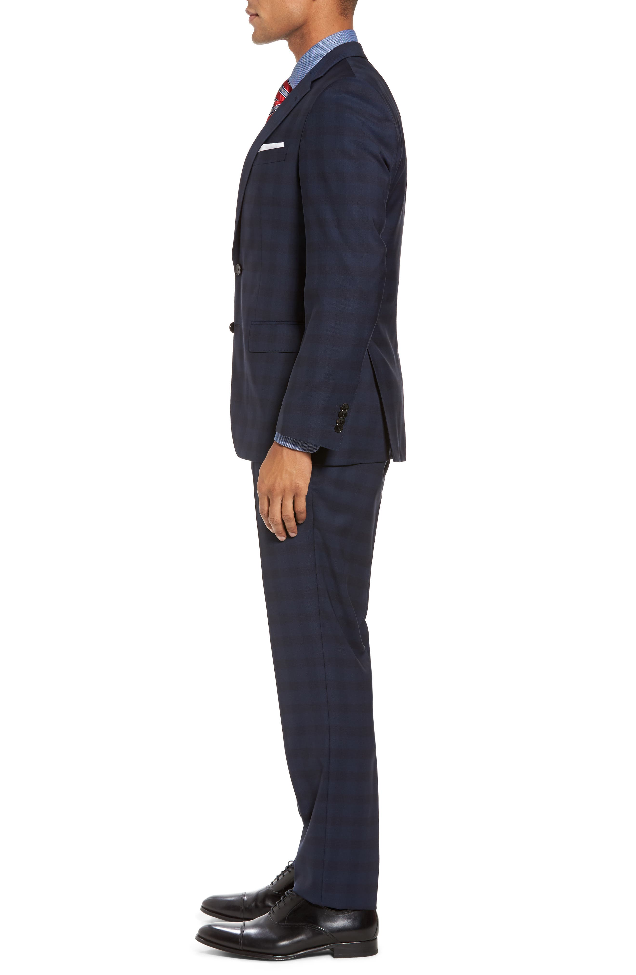 Huge/Genius Trim Fit Plaid Wool Suit,                             Alternate thumbnail 3, color,