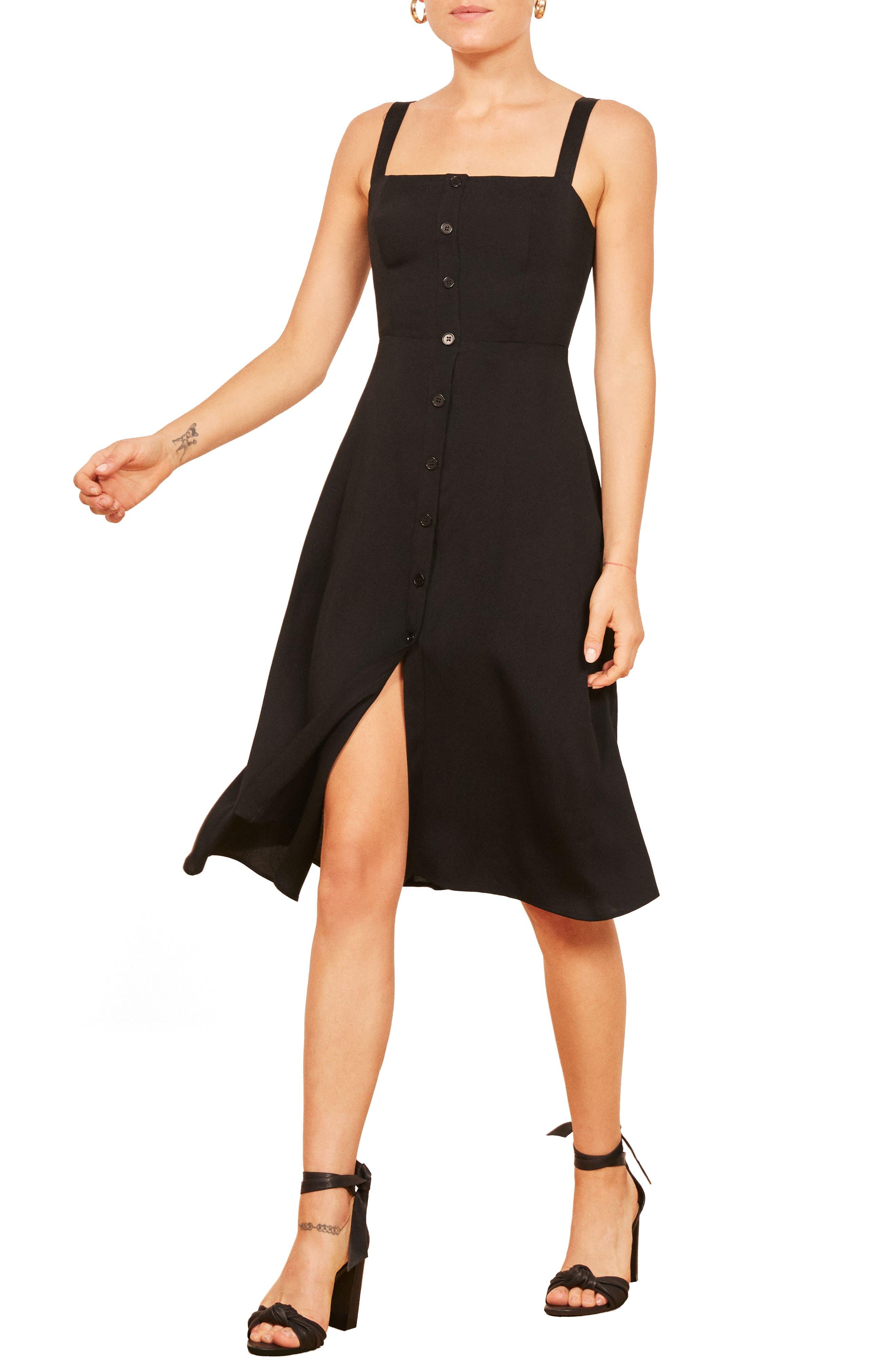 Persimmon Floral Midi A-Line Dress,                         Main,                         color, BLACK