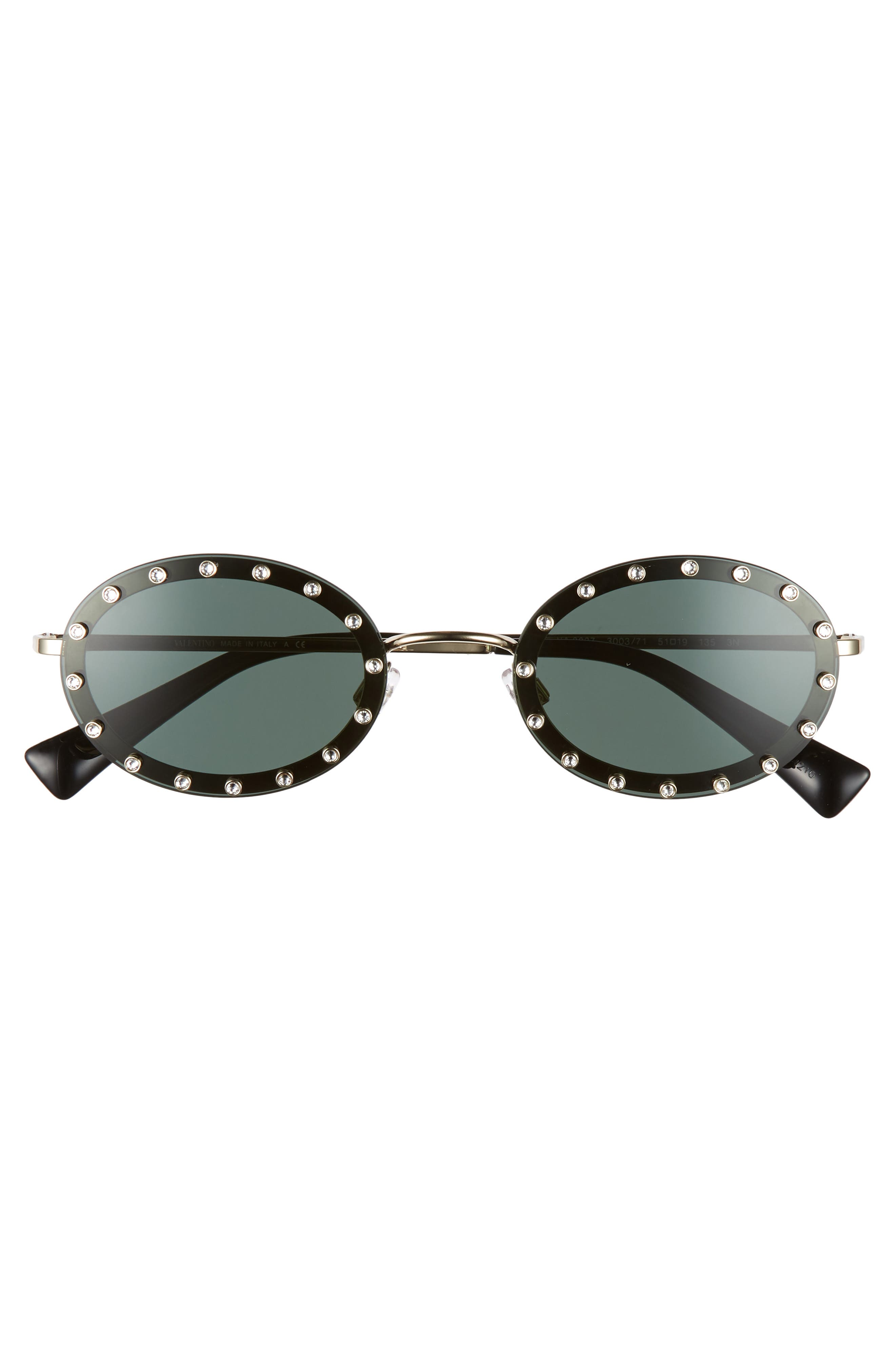 51mm Crystal Rockstud Oval Sunglasses,                             Alternate thumbnail 3, color,                             BLACK/ GREEN SOLID