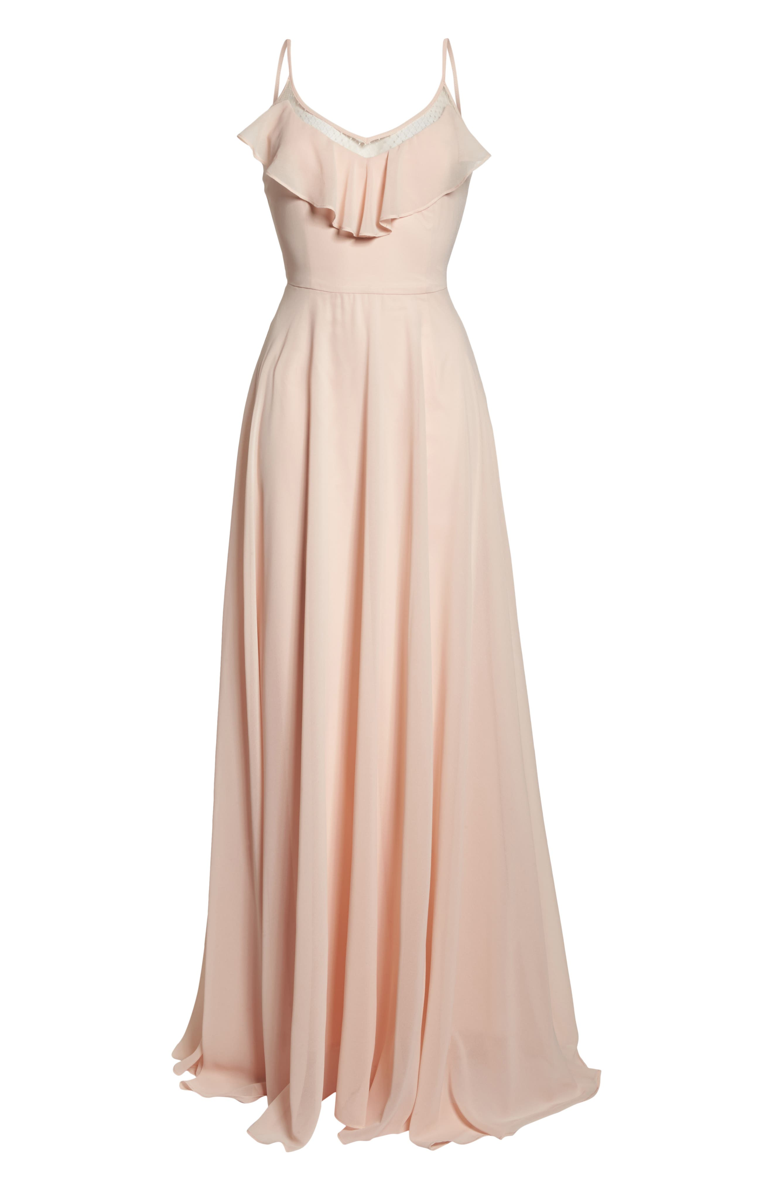 Francie Ruffle V-Neck Gown,                             Alternate thumbnail 8, color,                             PETAL