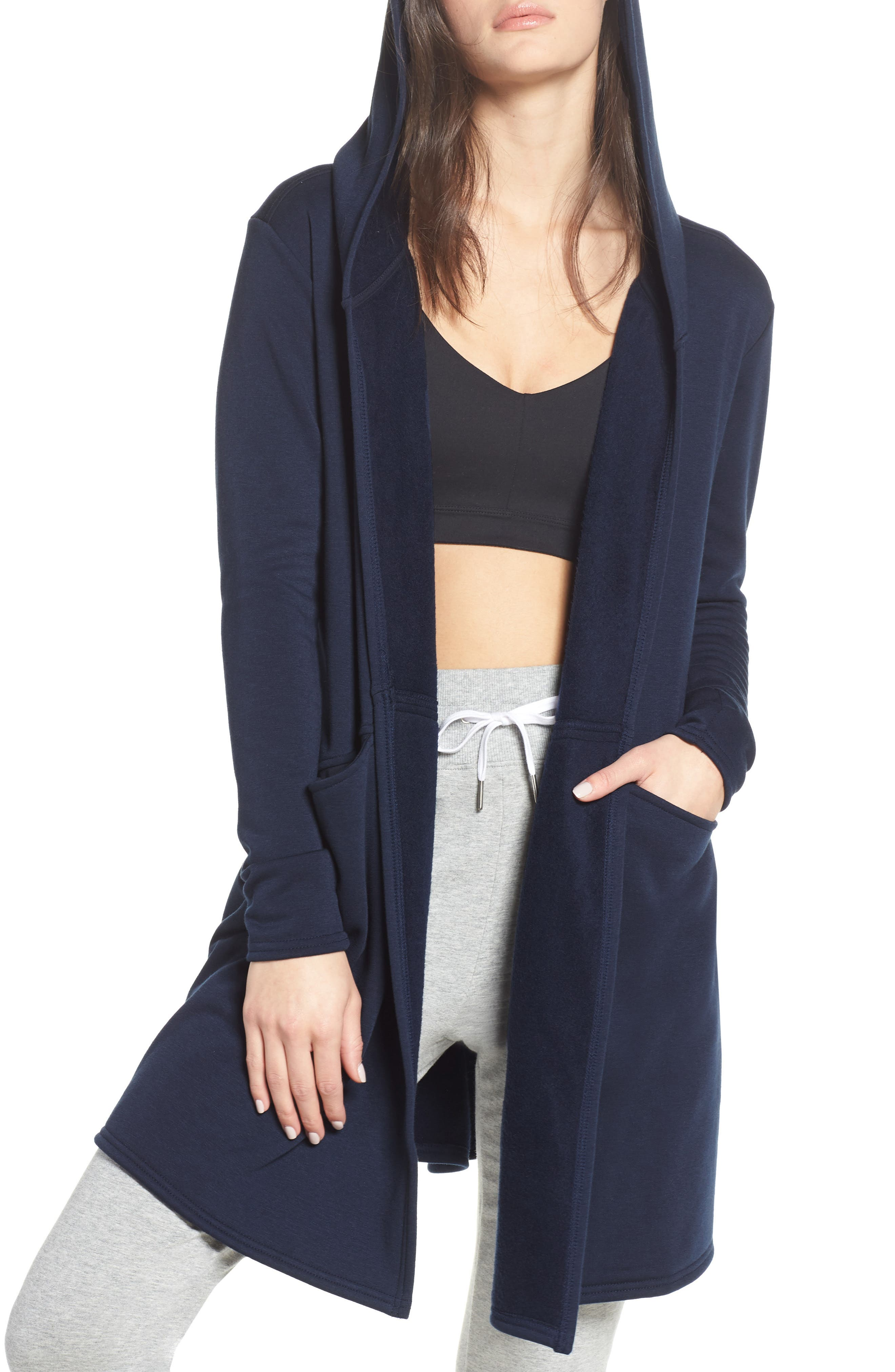 Plush Lined Wrap Hooded Jacket, Main, color, NAVY BLAZER