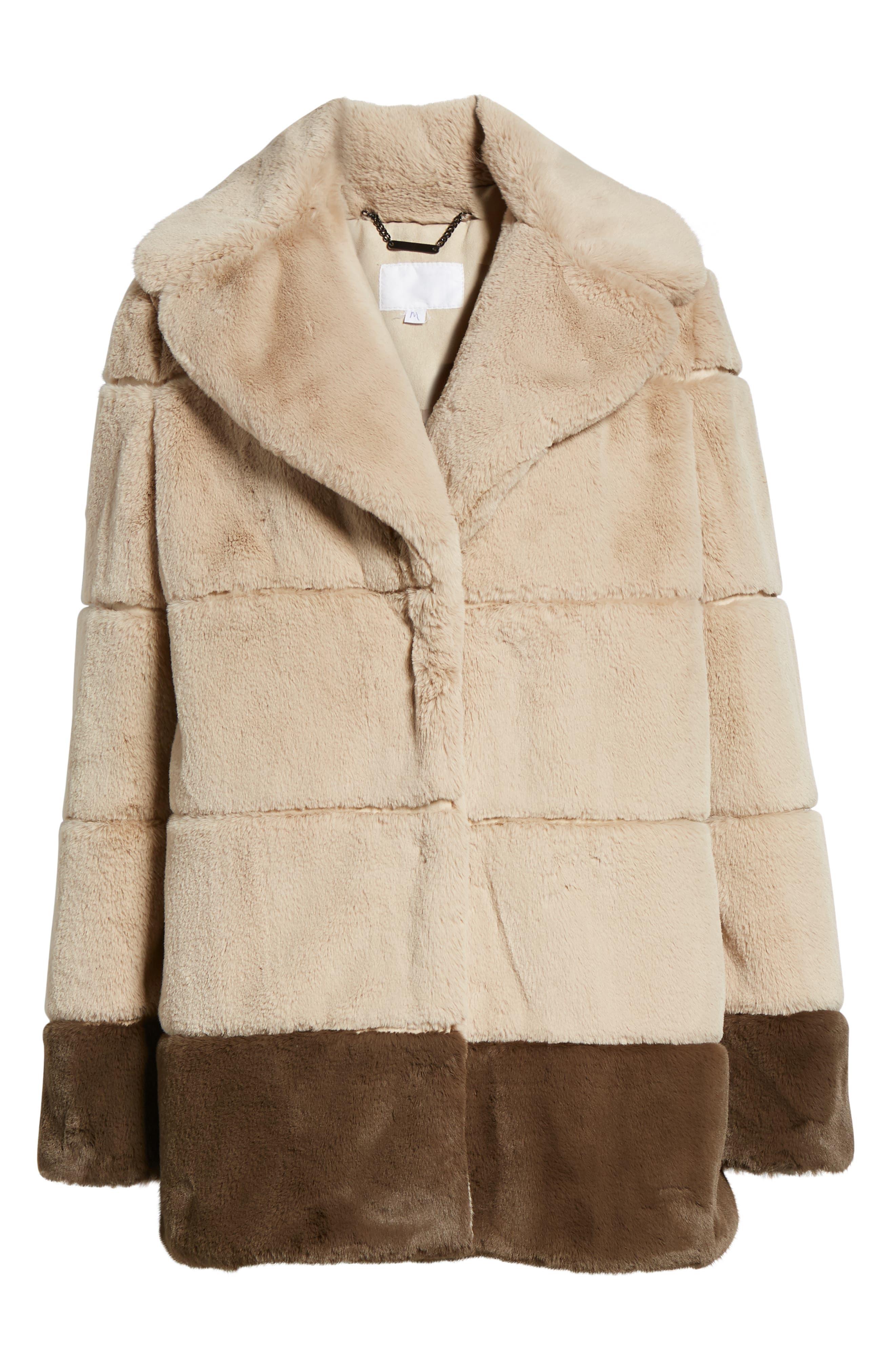 Colorblock Panel Faux Fur Jacket,                             Alternate thumbnail 5, color,                             BEIGE/ BROWN