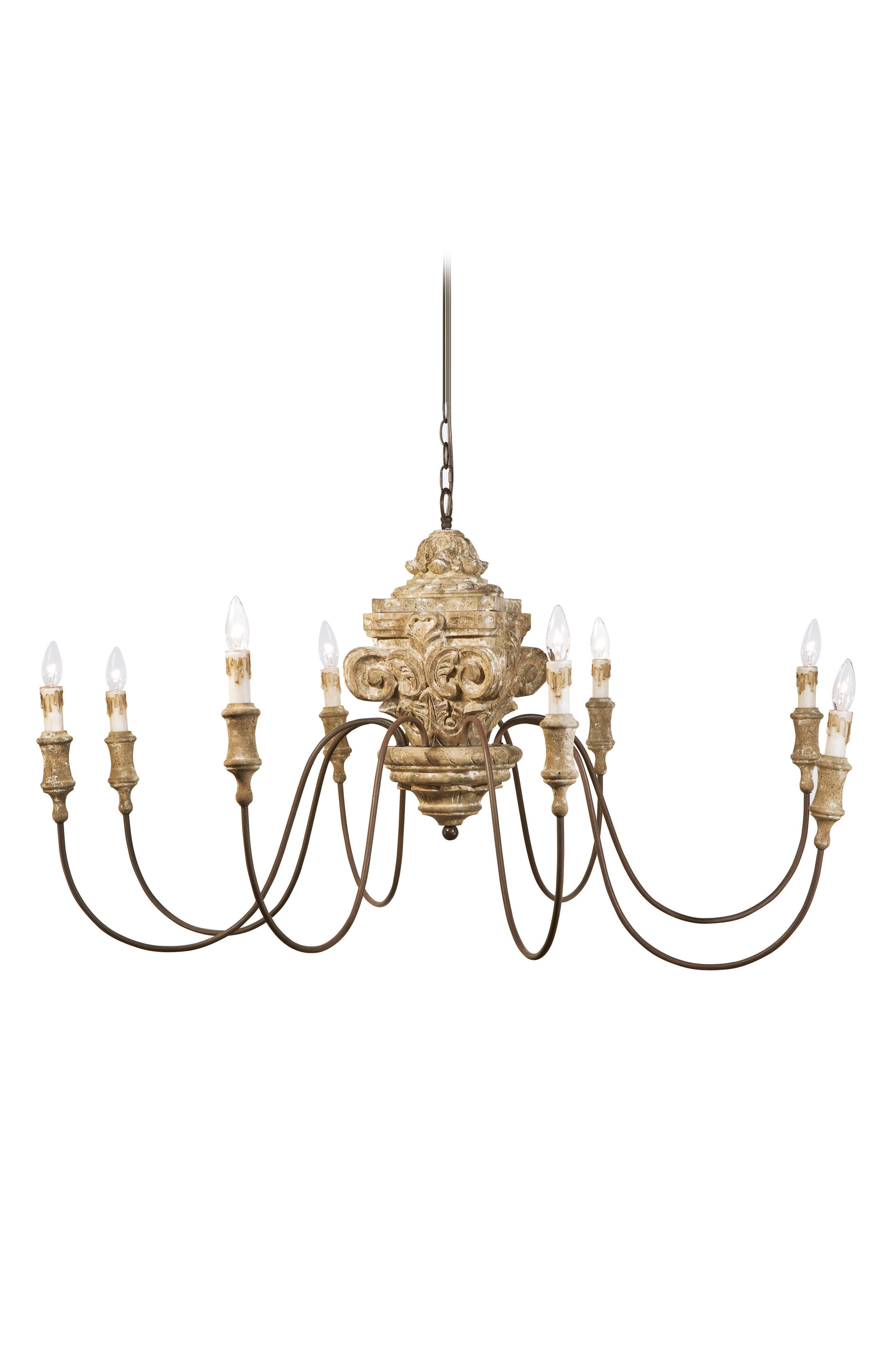 Carved Wood Chandelier,                             Main thumbnail 1, color,                             NATURAL