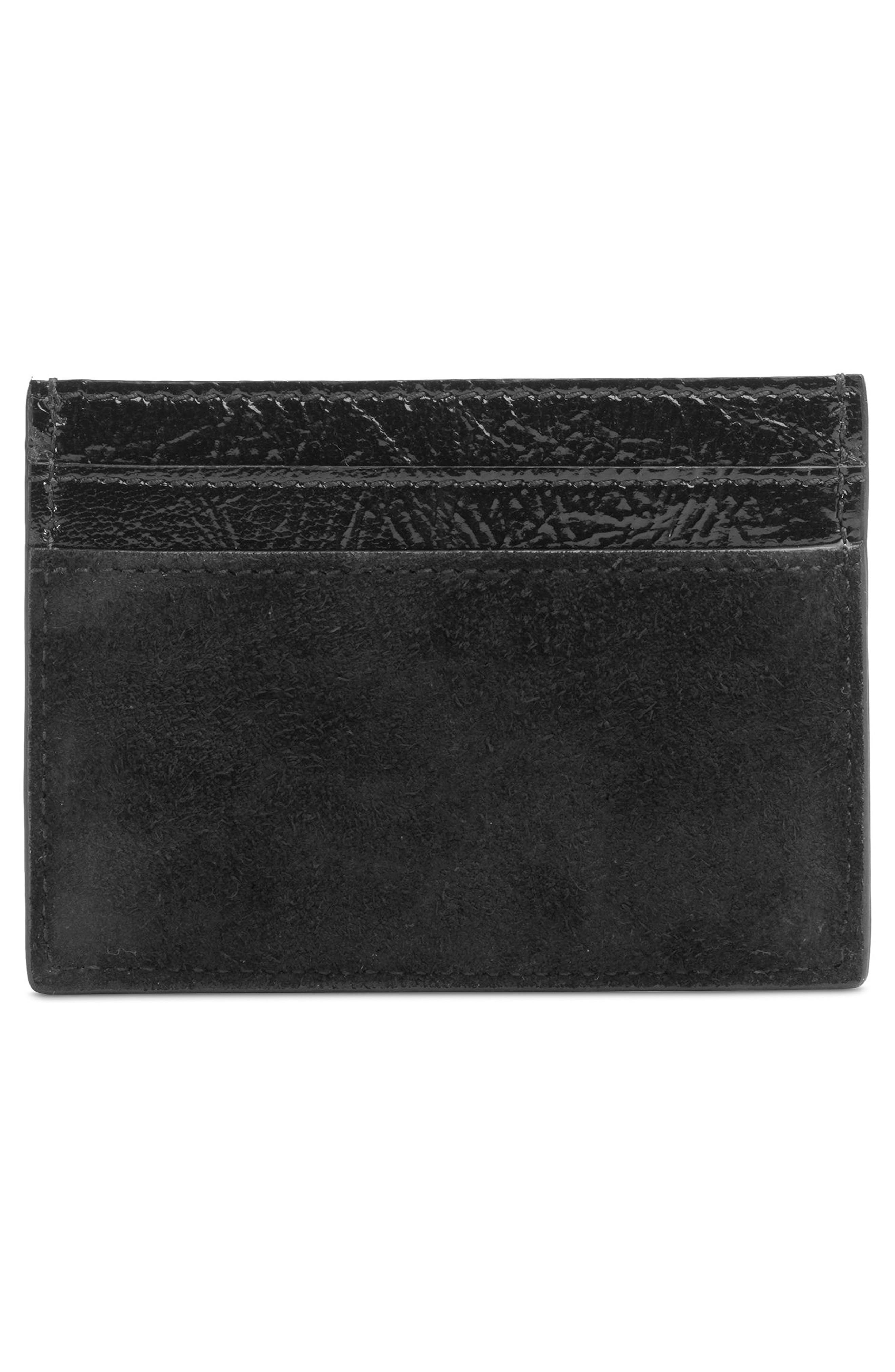 Ophidia Suede Card Case,                             Alternate thumbnail 3, color,                             NERO/ NERO/ VERT RED VERT