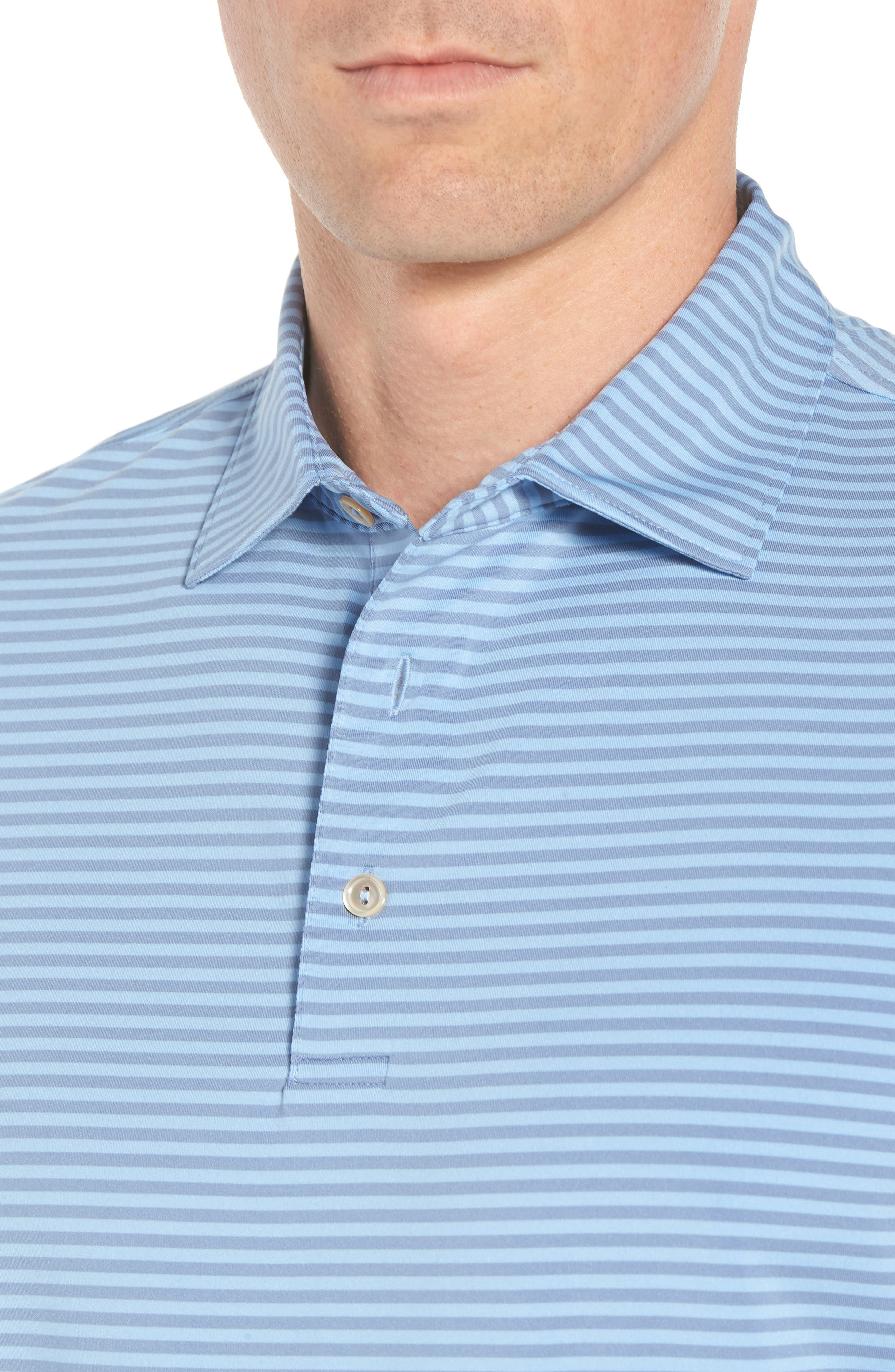 Competition Stripe Stretch Jersey Polo,                             Alternate thumbnail 4, color,                             COTTAGE BLUE