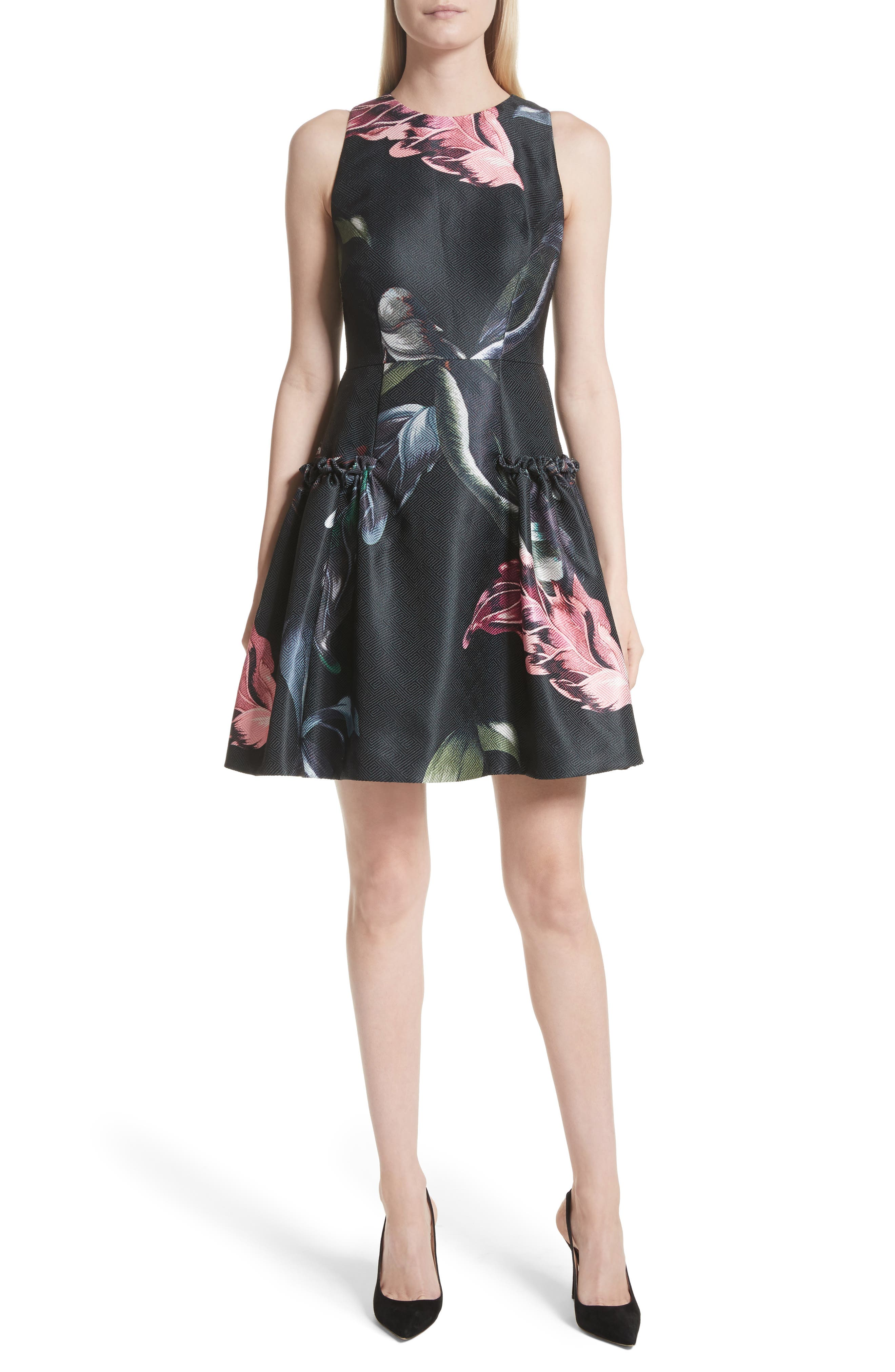 Sarahe Floral Fit & Flare Dress,                             Main thumbnail 1, color,                             001