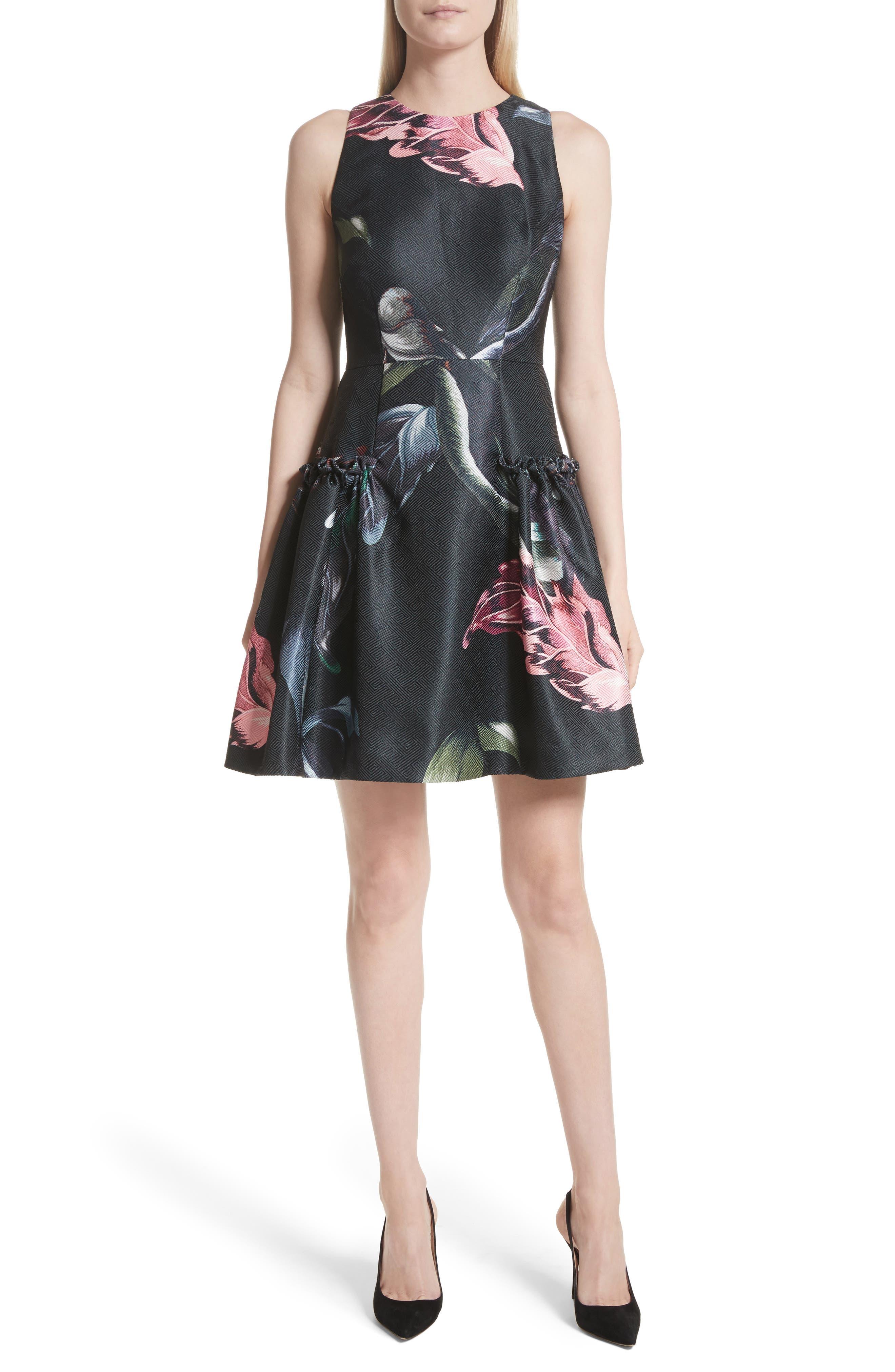 Sarahe Floral Fit & Flare Dress,                         Main,                         color, 001