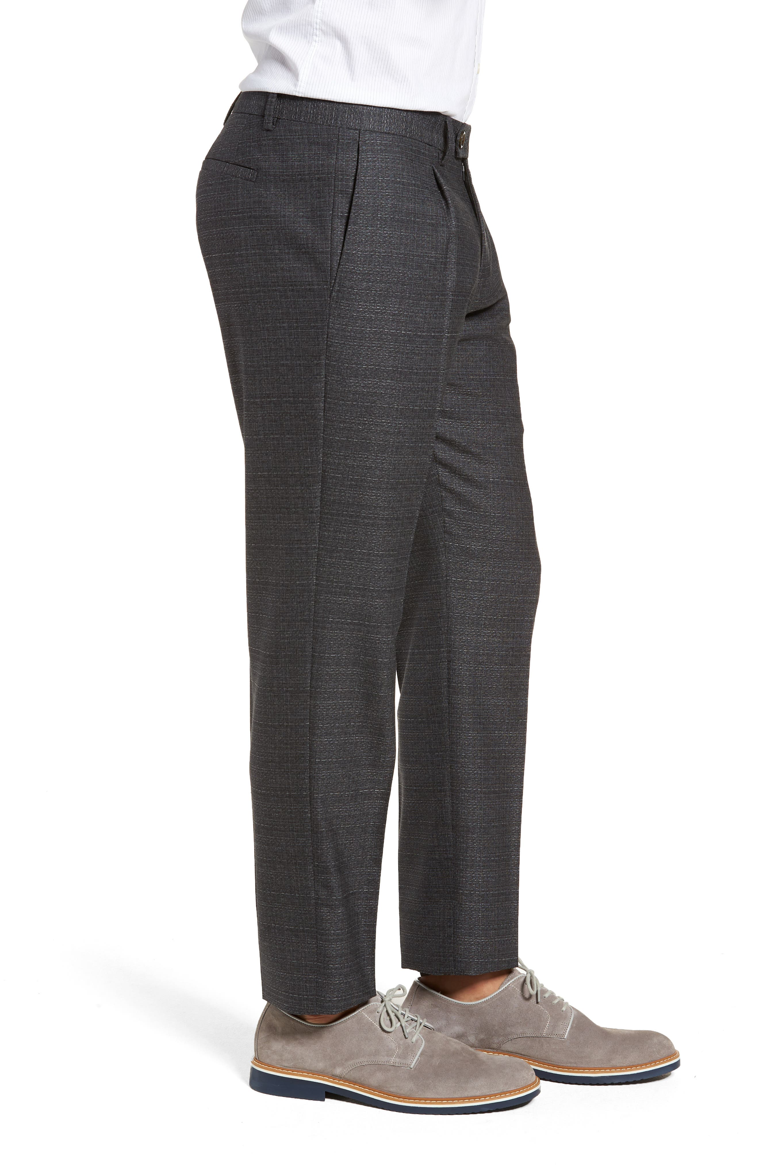 Pleated Solid Wool Trousers,                             Alternate thumbnail 3, color,                             031