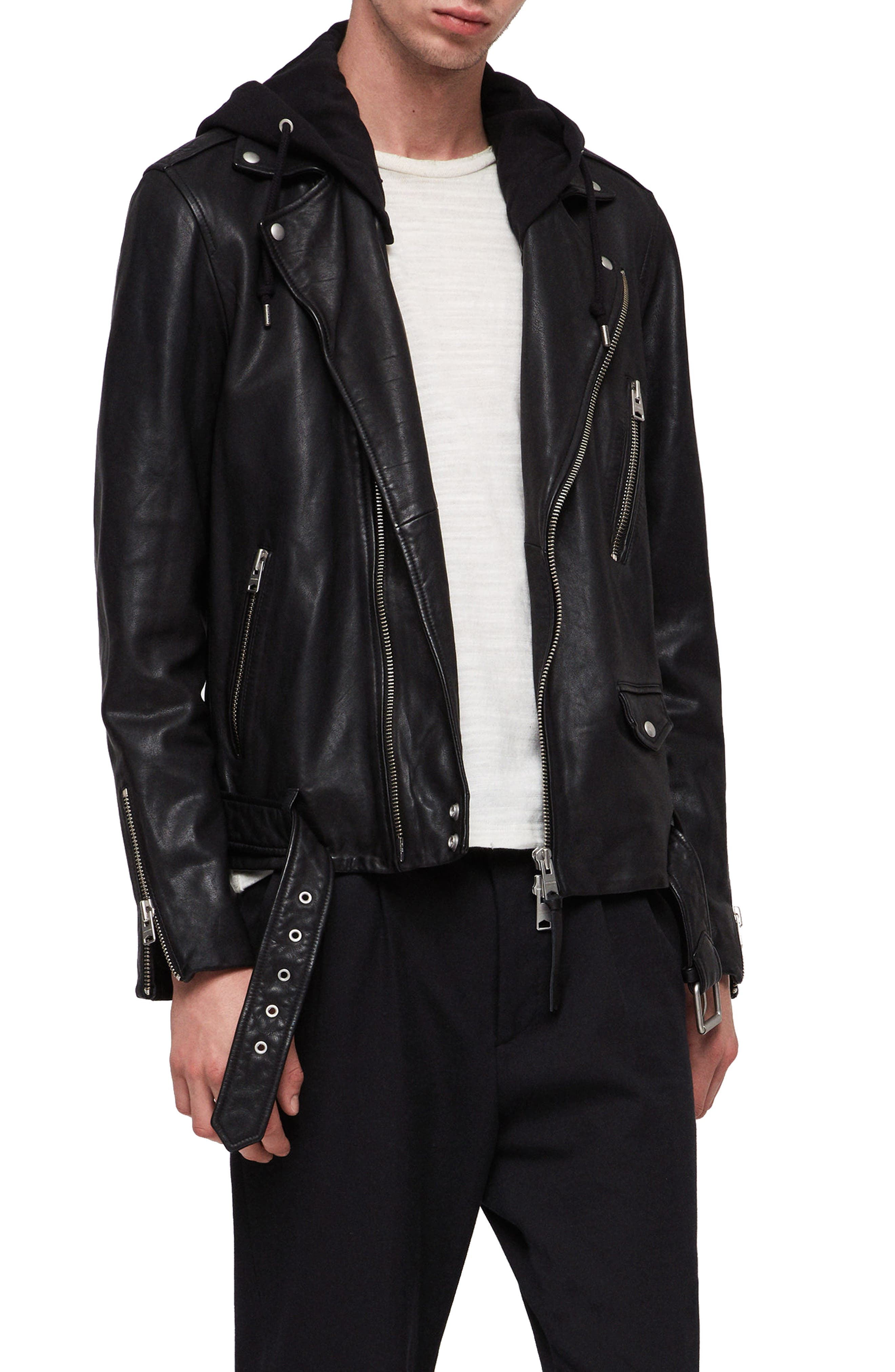Renzo Slim Fit Leather Biker Jacket,                             Main thumbnail 1, color,                             BLACK