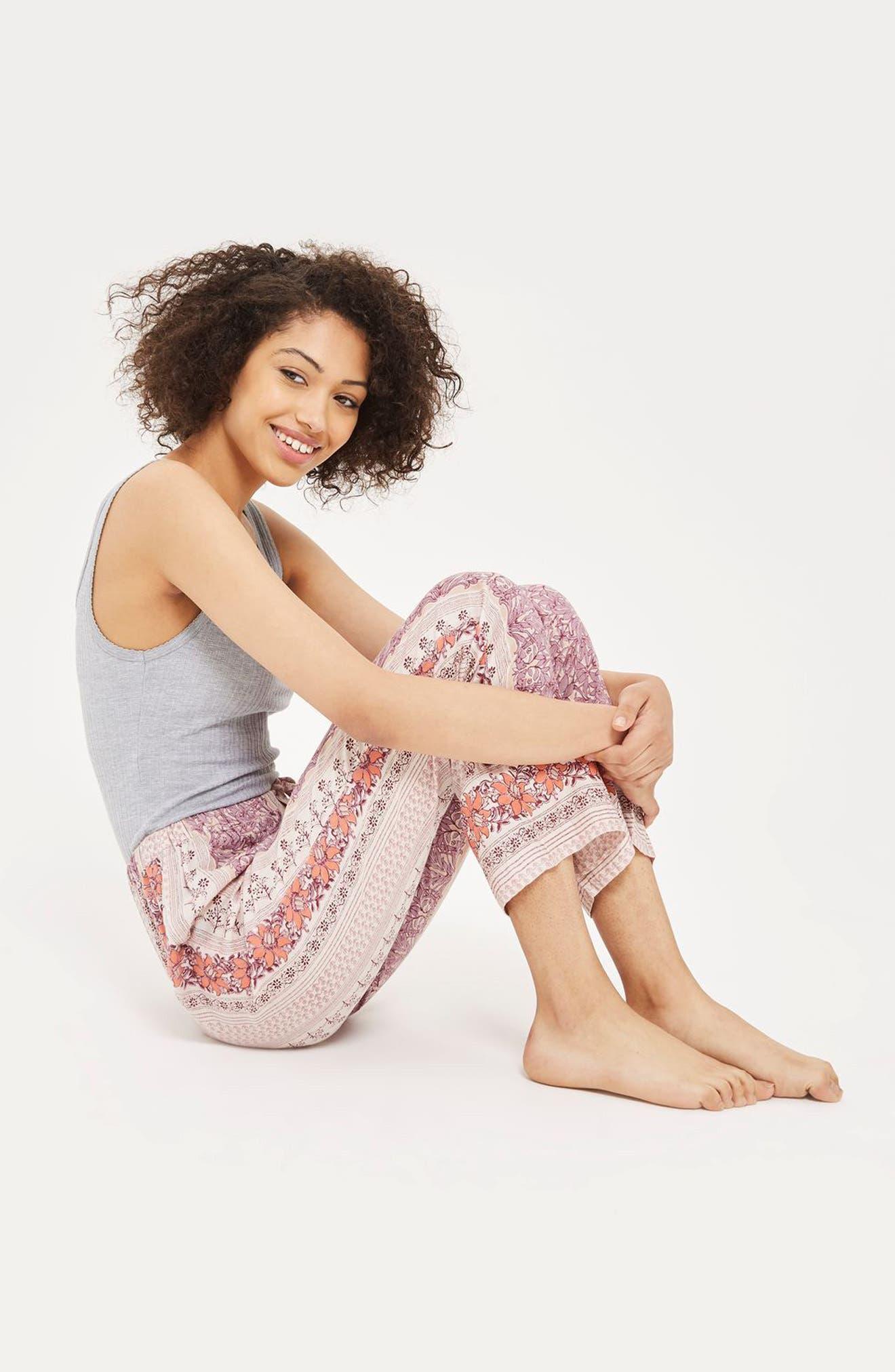 Bohemian Floral Print Pajama Pants,                             Alternate thumbnail 4, color,                             530