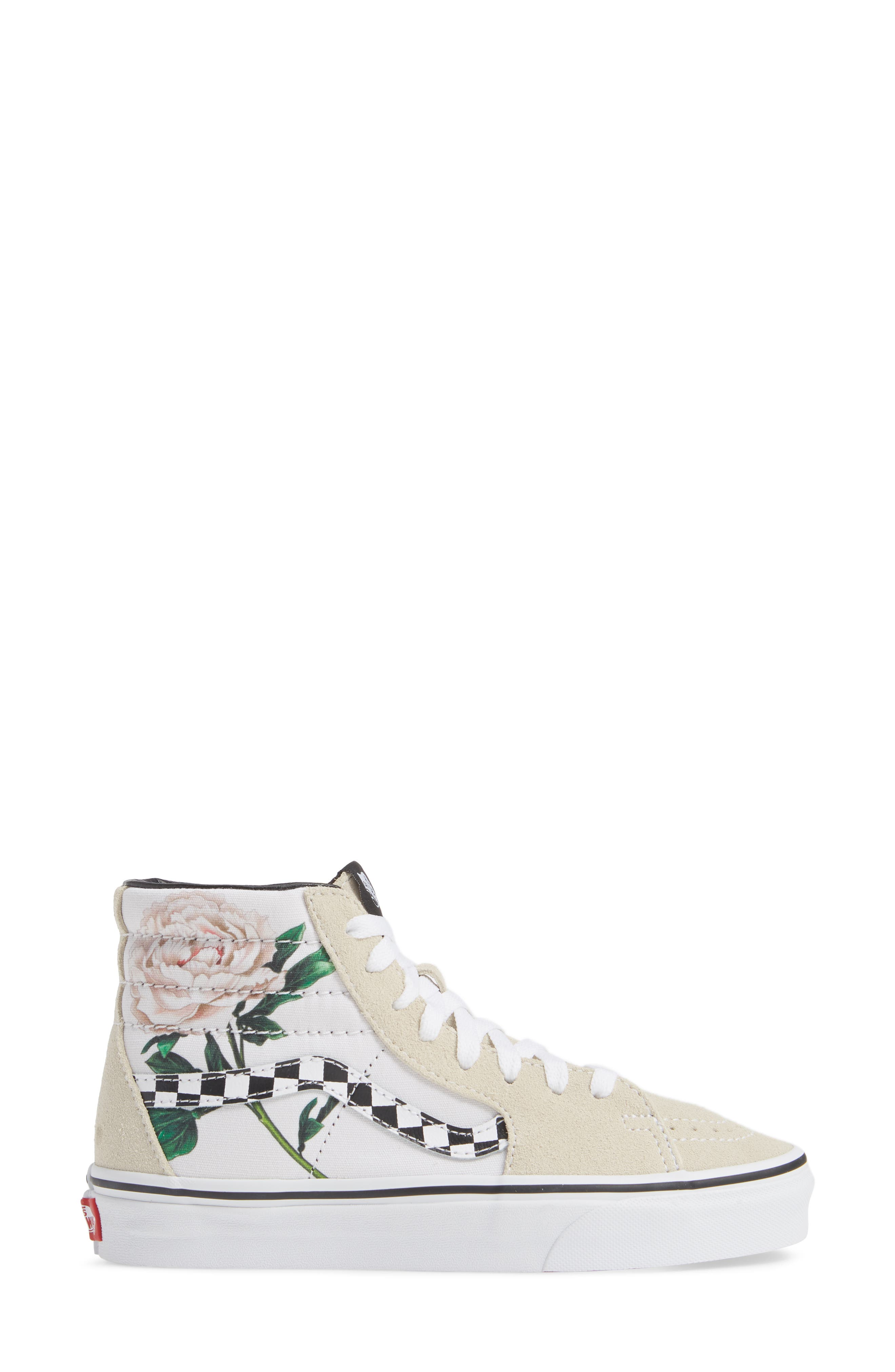 VANS,                             Sk8-Hi Checker Floral High Top Sneaker,                             Alternate thumbnail 3, color,                             CHECKER FLORAL TURTLEDOVE