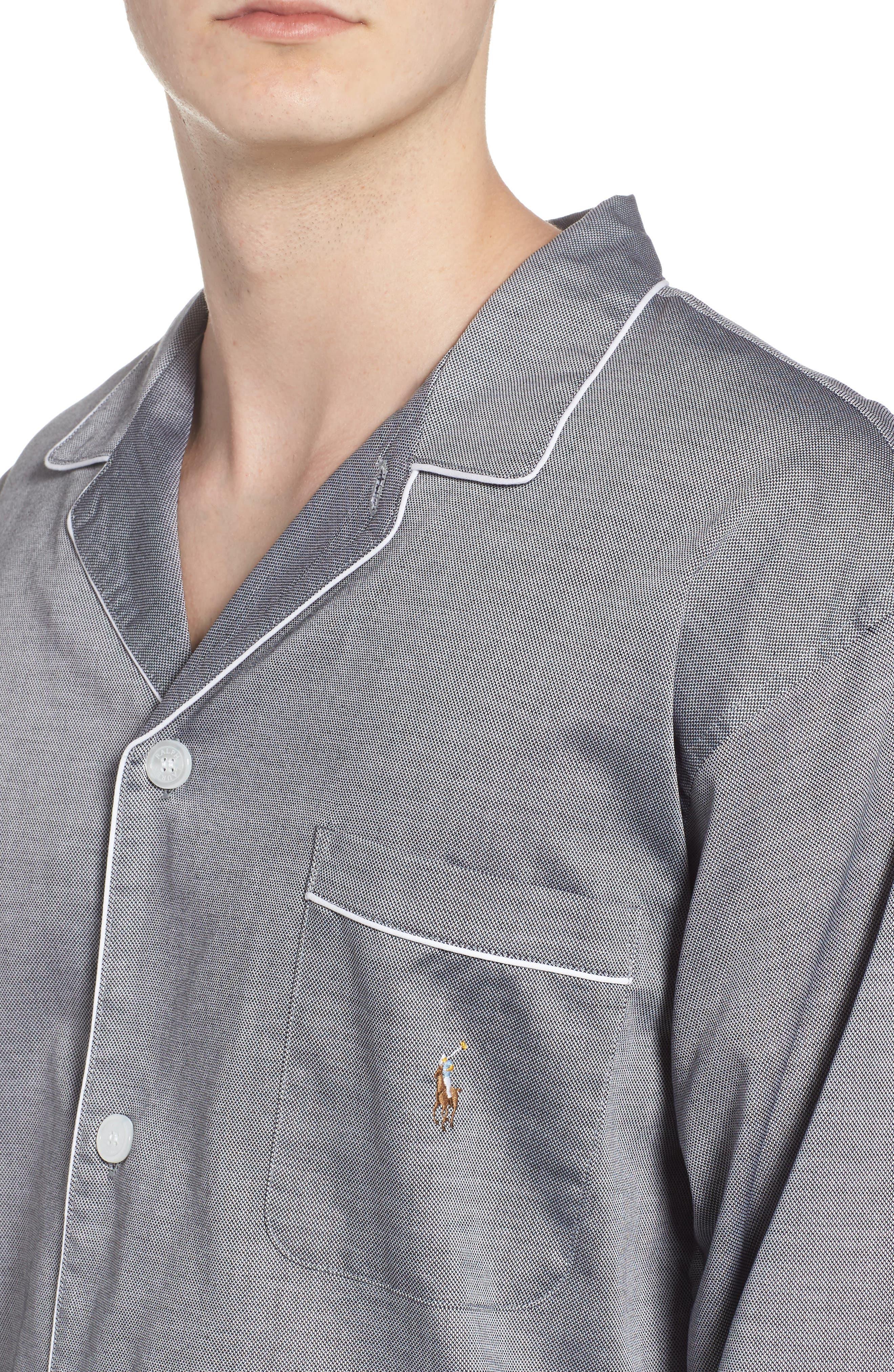 Pajama Top,                             Alternate thumbnail 5, color,                             BLACK ROYAL OXFORD