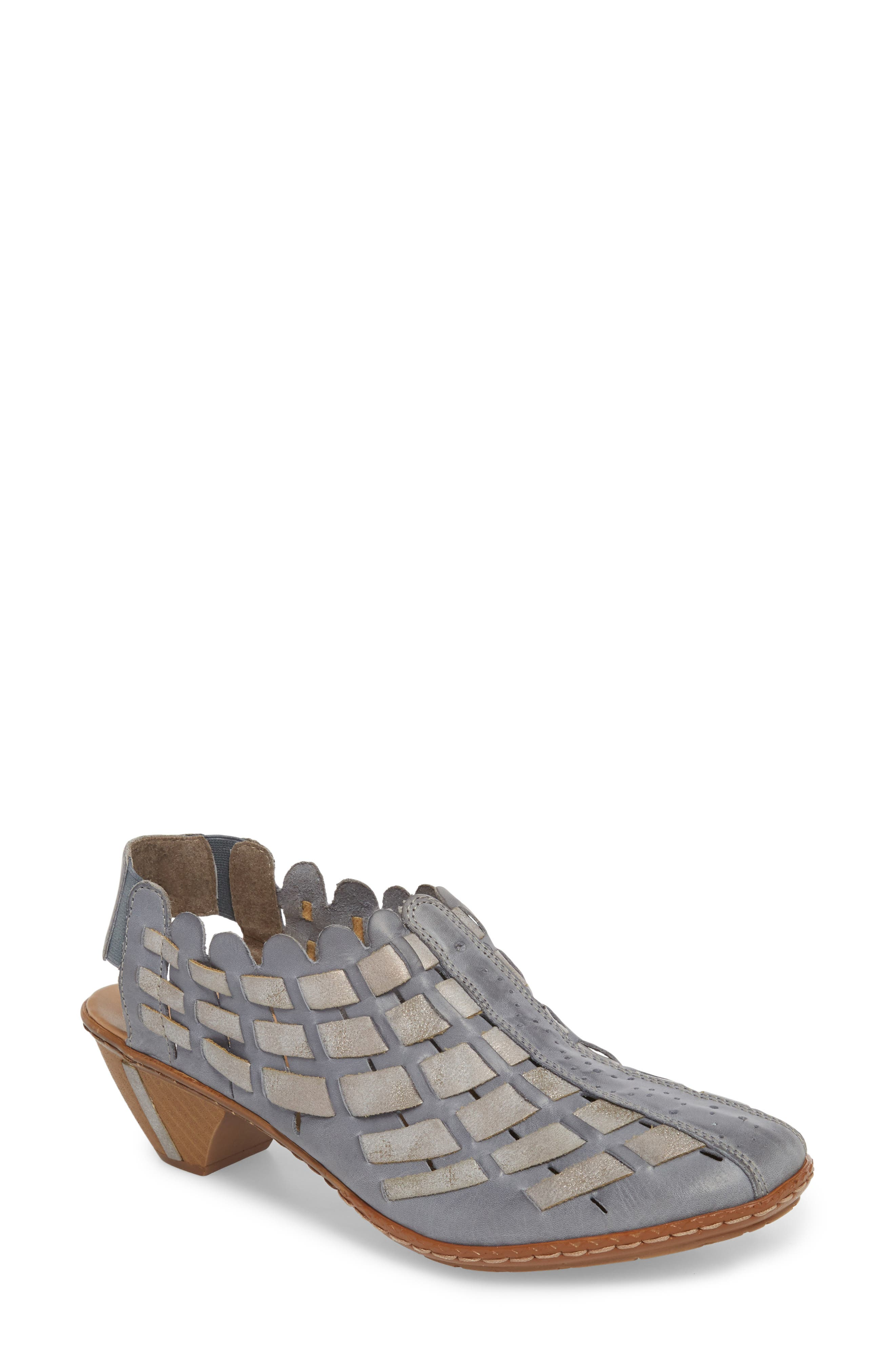 'Sina' Woven Bootie,                             Main thumbnail 1, color,                             AZUR GREY LEATHER