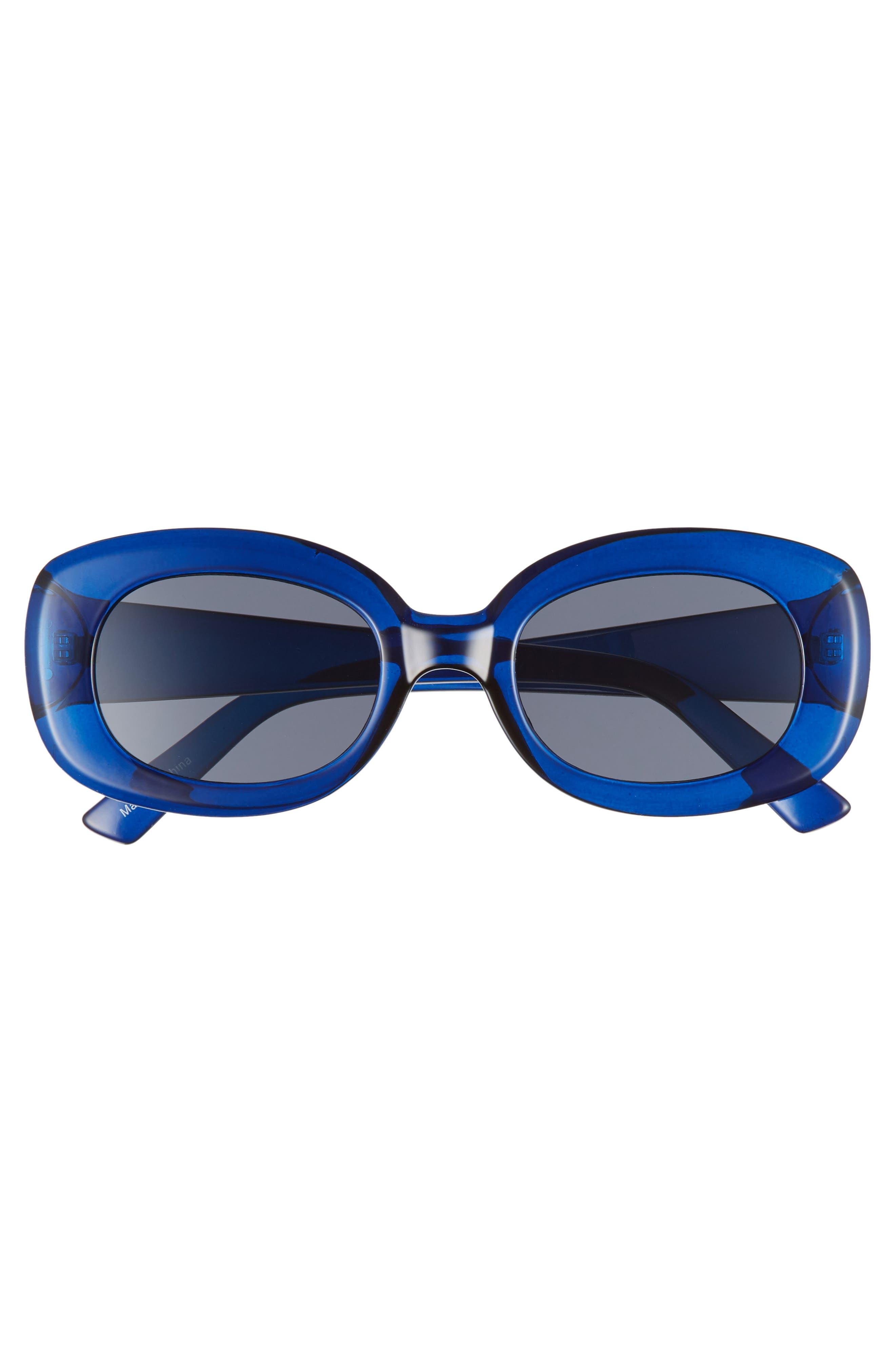 66mm Oval Sunglasses,                             Alternate thumbnail 3, color,                             BLUE/ BLACK