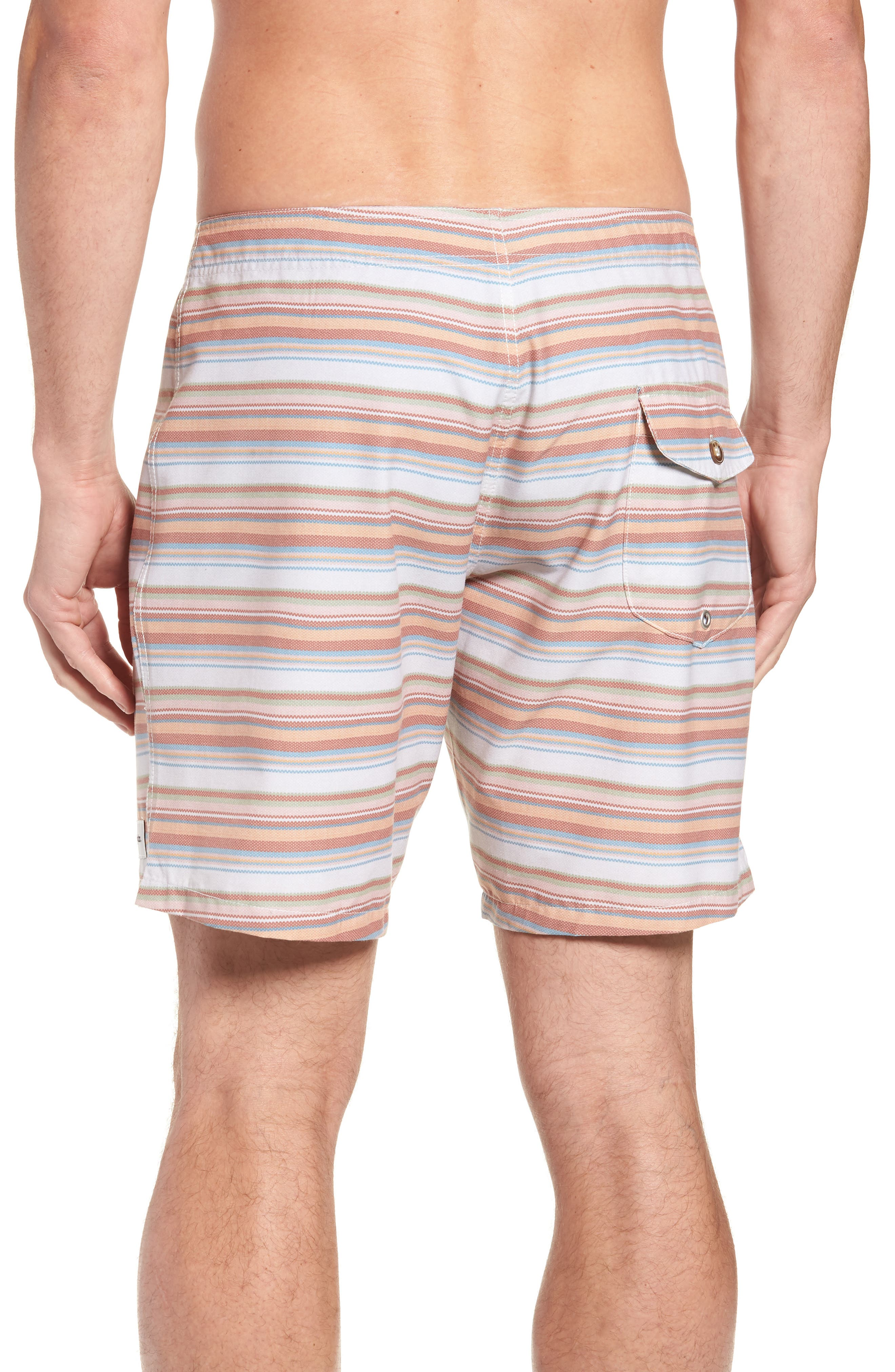 Tuscan Stripe Swim Trunks,                             Alternate thumbnail 2, color,                             TERRACOTTA