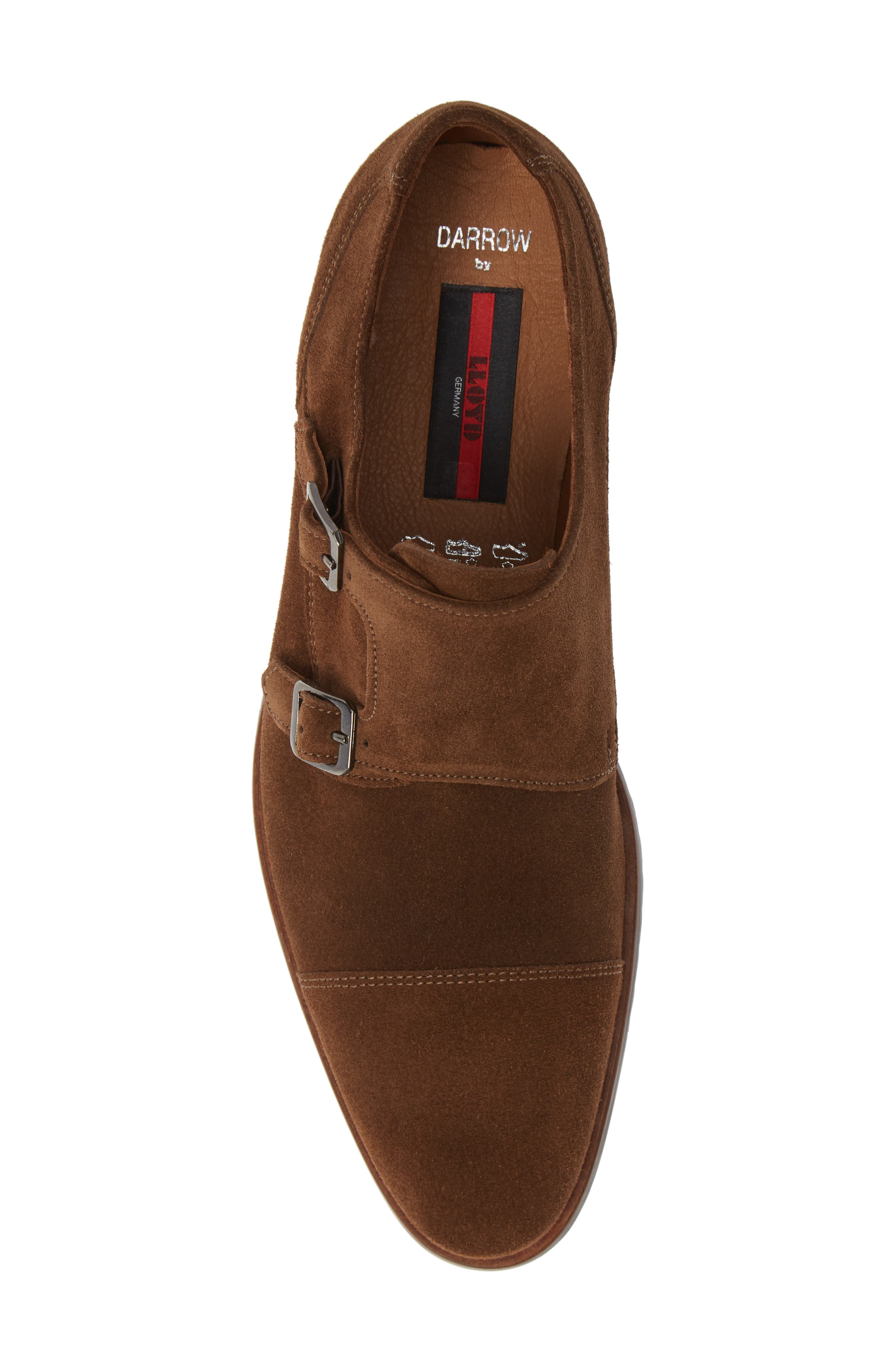 Darrow Double Monk Strap Shoe,                             Alternate thumbnail 5, color,                             CIGAR BROWN SUEDE