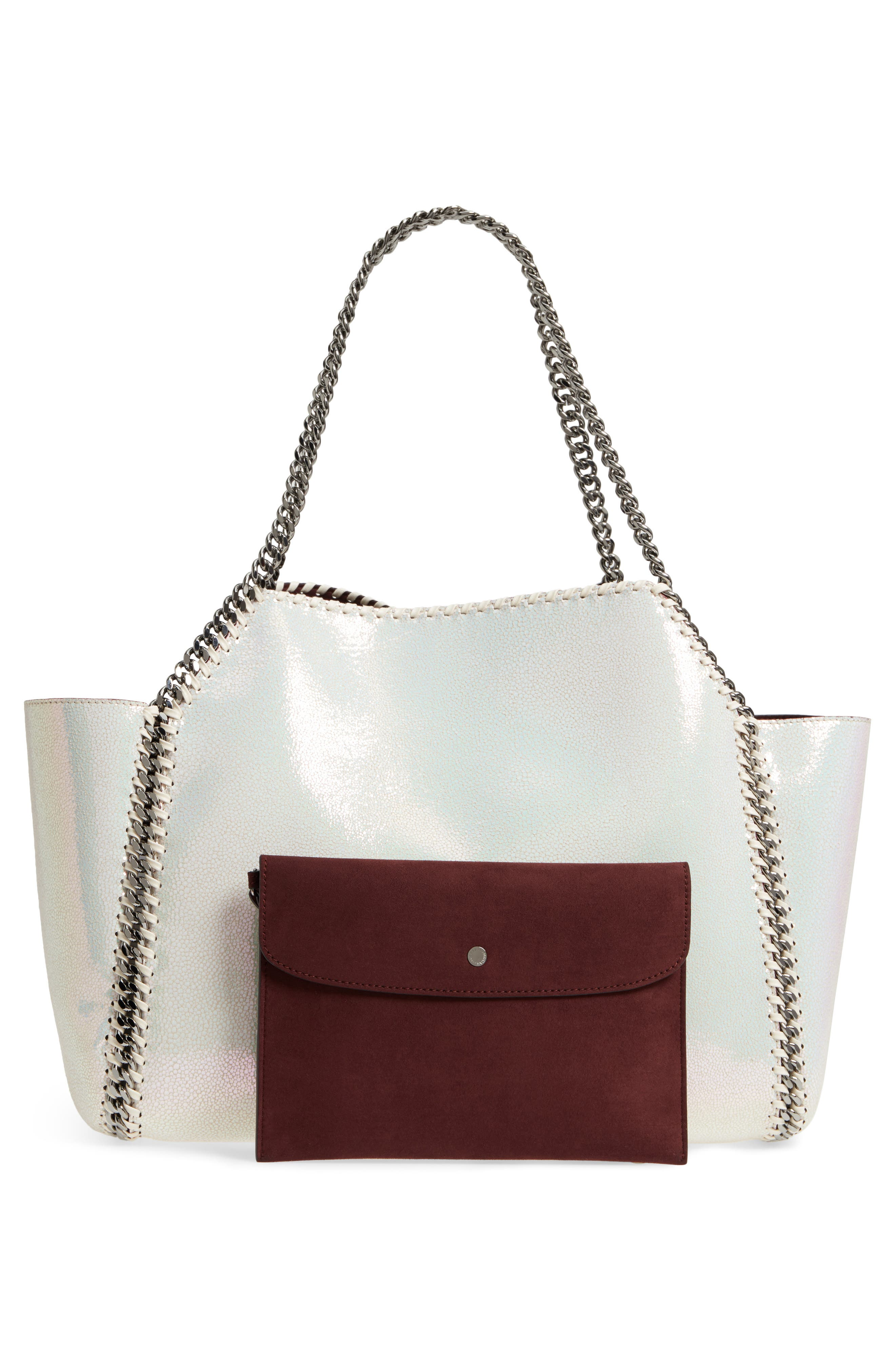 Small Oleo Deer Reversible Faux Leather Tote,                             Alternate thumbnail 4, color,                             100