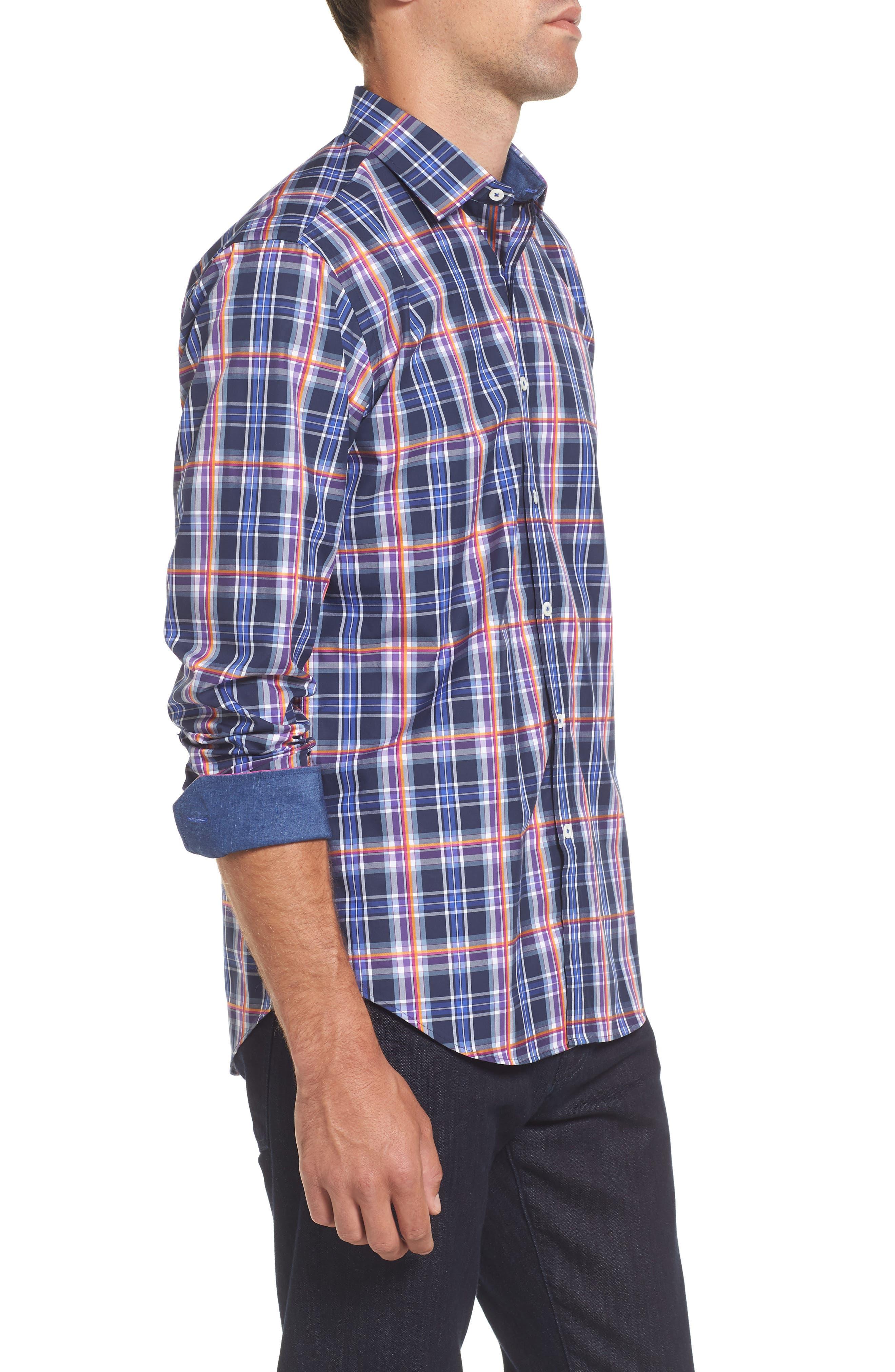 Slim Fit Madras Plaid Sport Shirt,                             Alternate thumbnail 3, color,                             411
