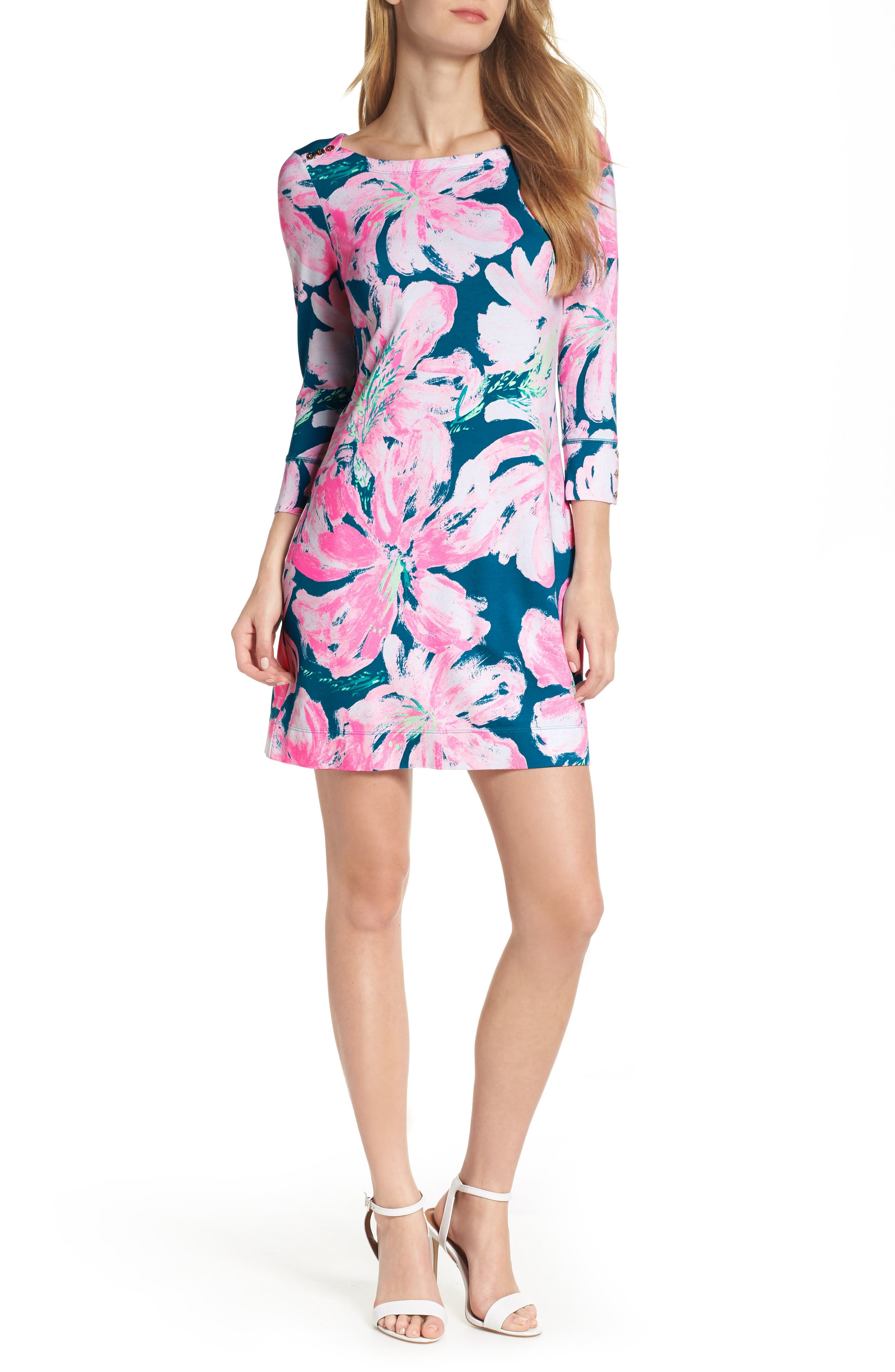 Lilly Pulitzer Sophie Upf 50+ Boat Neck Dress, Blue/green