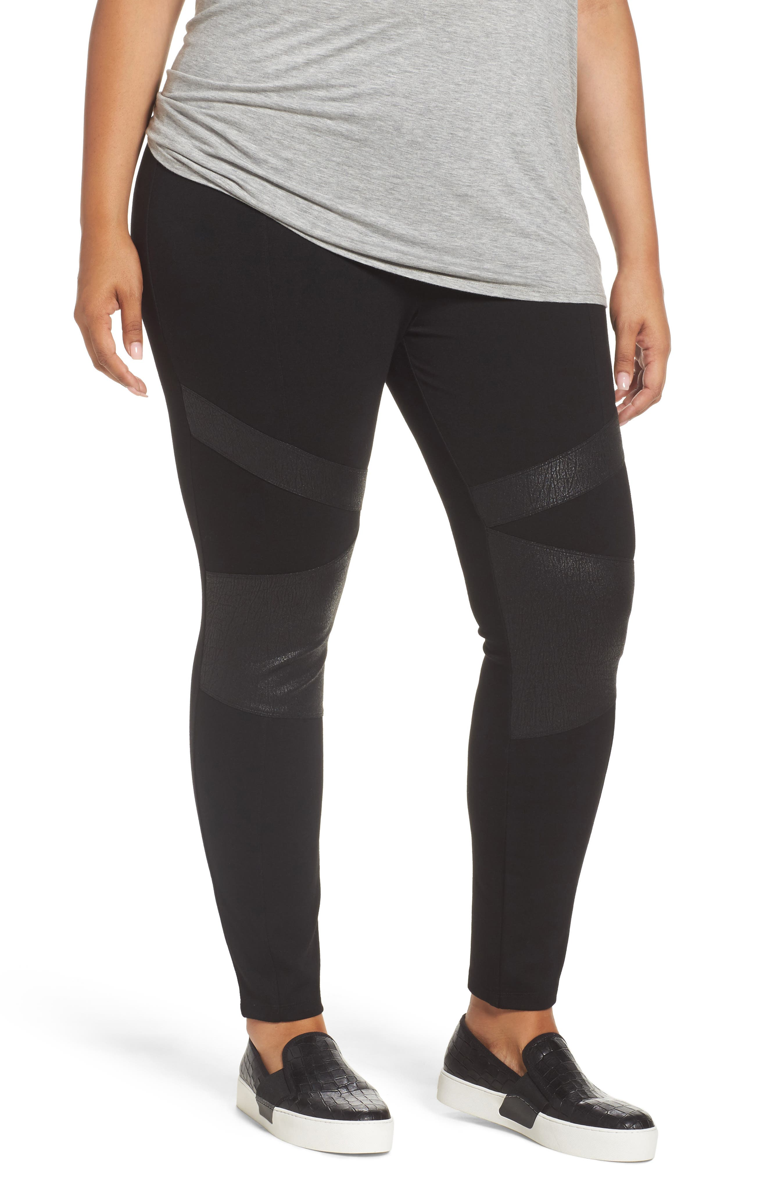 TWO BY VINCE CAMUTO High Rise Lacquer Inset Moto Leggings, Main, color, RICH BLACK