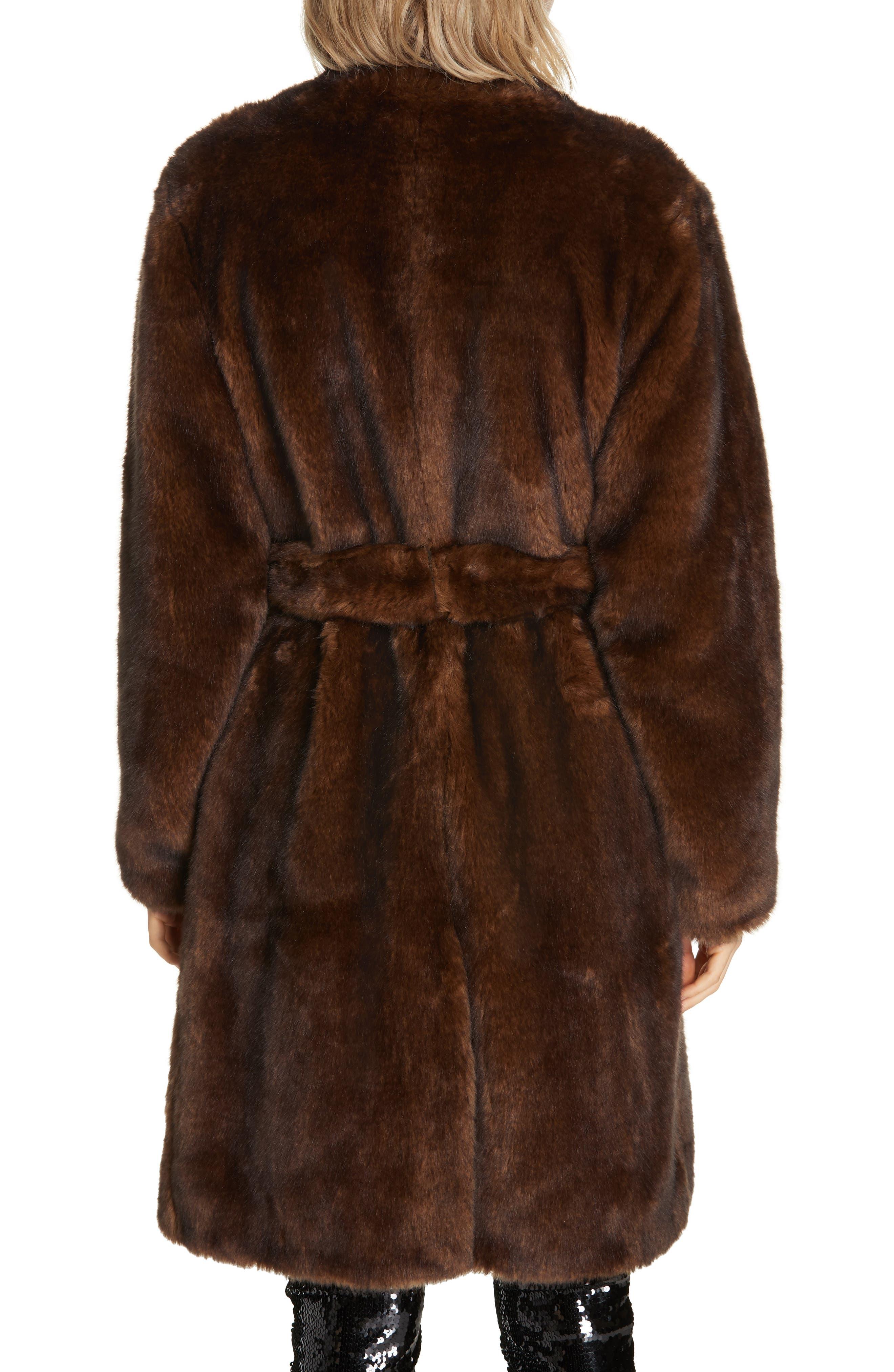 Faux Mink Fur Robe Coat,                             Alternate thumbnail 2, color,                             BROWN