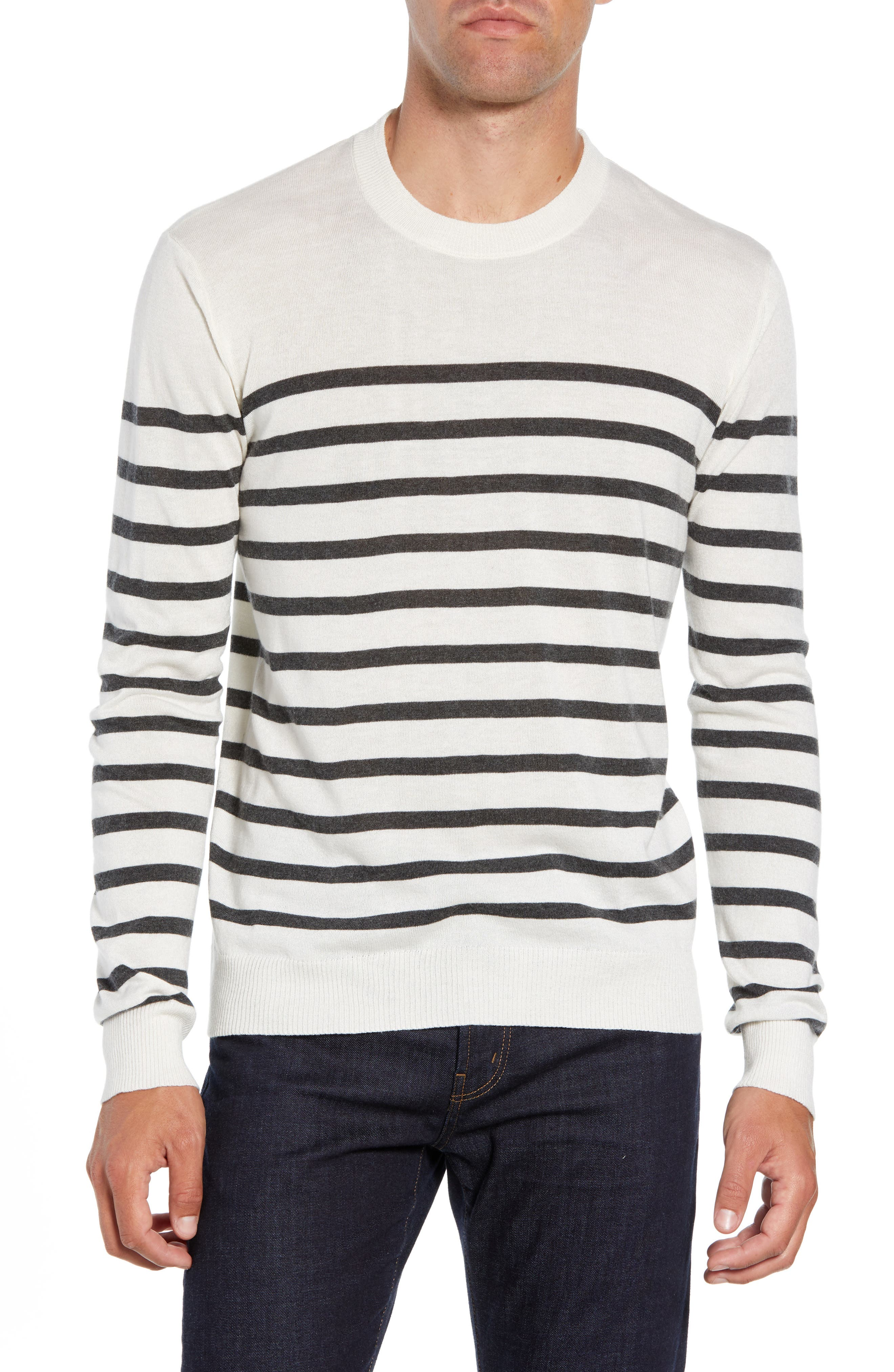 ATM ANTHONY THOMAS MELILLO Sailor Stripe Silk Blend Sweater, Main, color, CHALK/ CHARCOAL COMBO