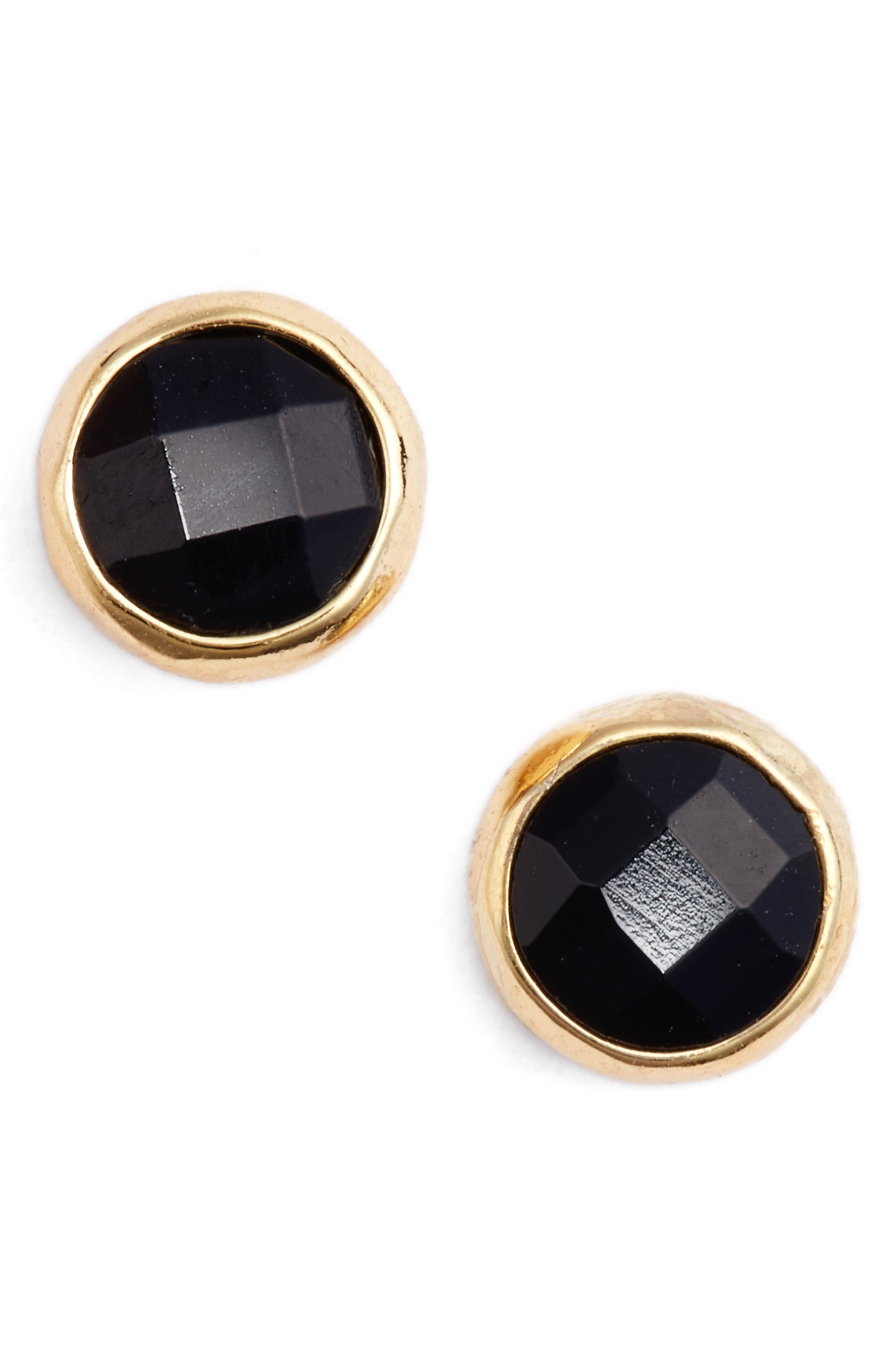 Protection Stud Earrings,                         Main,                         color, BLACK ONYX/ GOLD