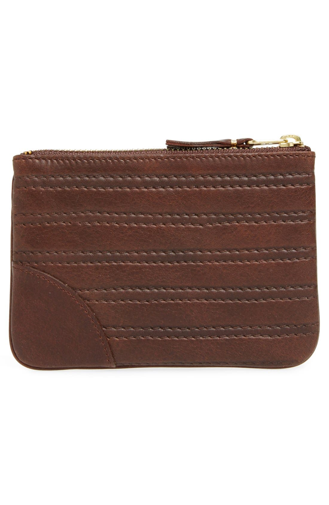 Embossed Leather Top Zip Pouch Wallet,                             Alternate thumbnail 9, color,