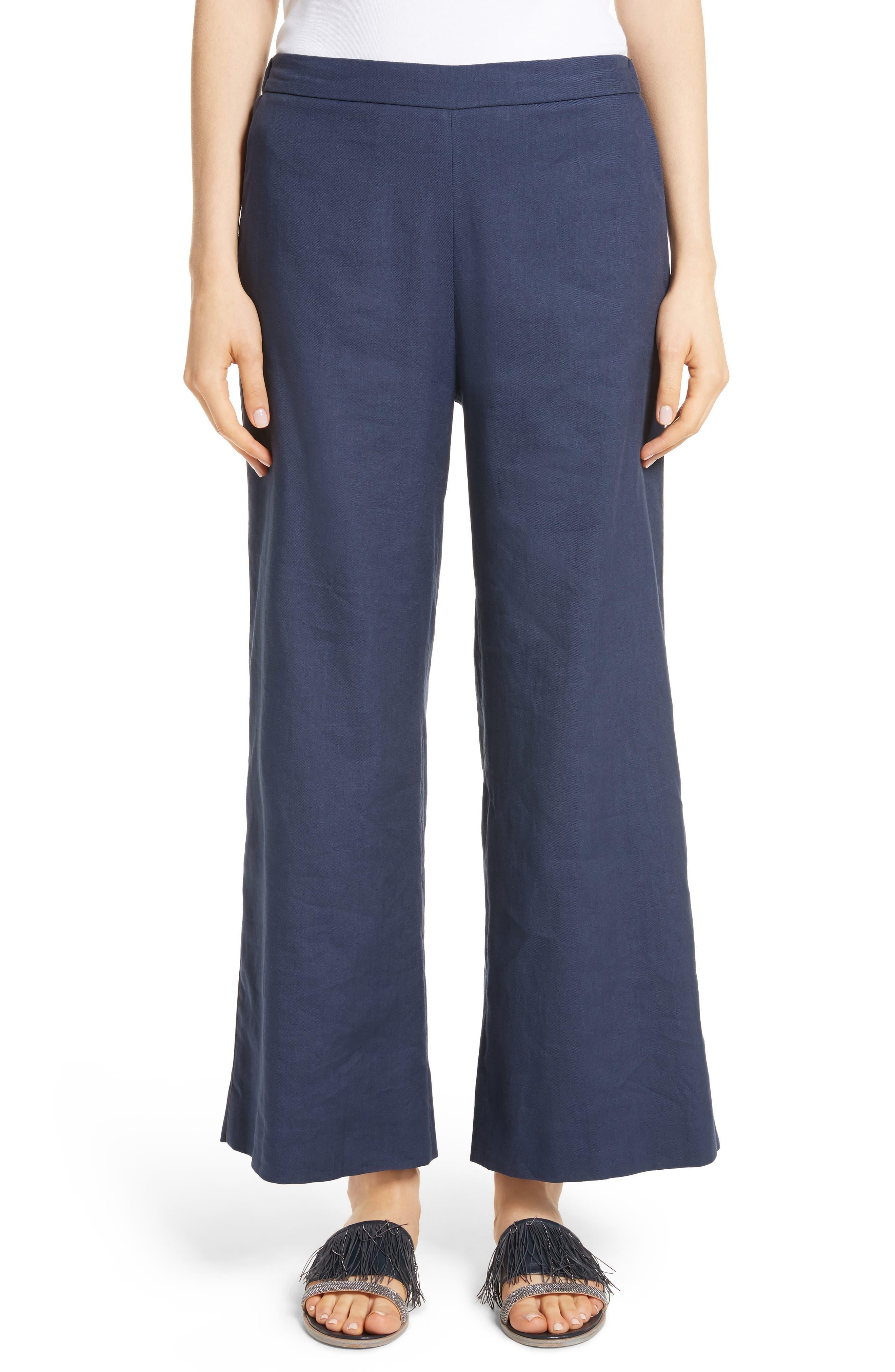 Linen Blend Wide Leg Crop Pants,                         Main,                         color, 400
