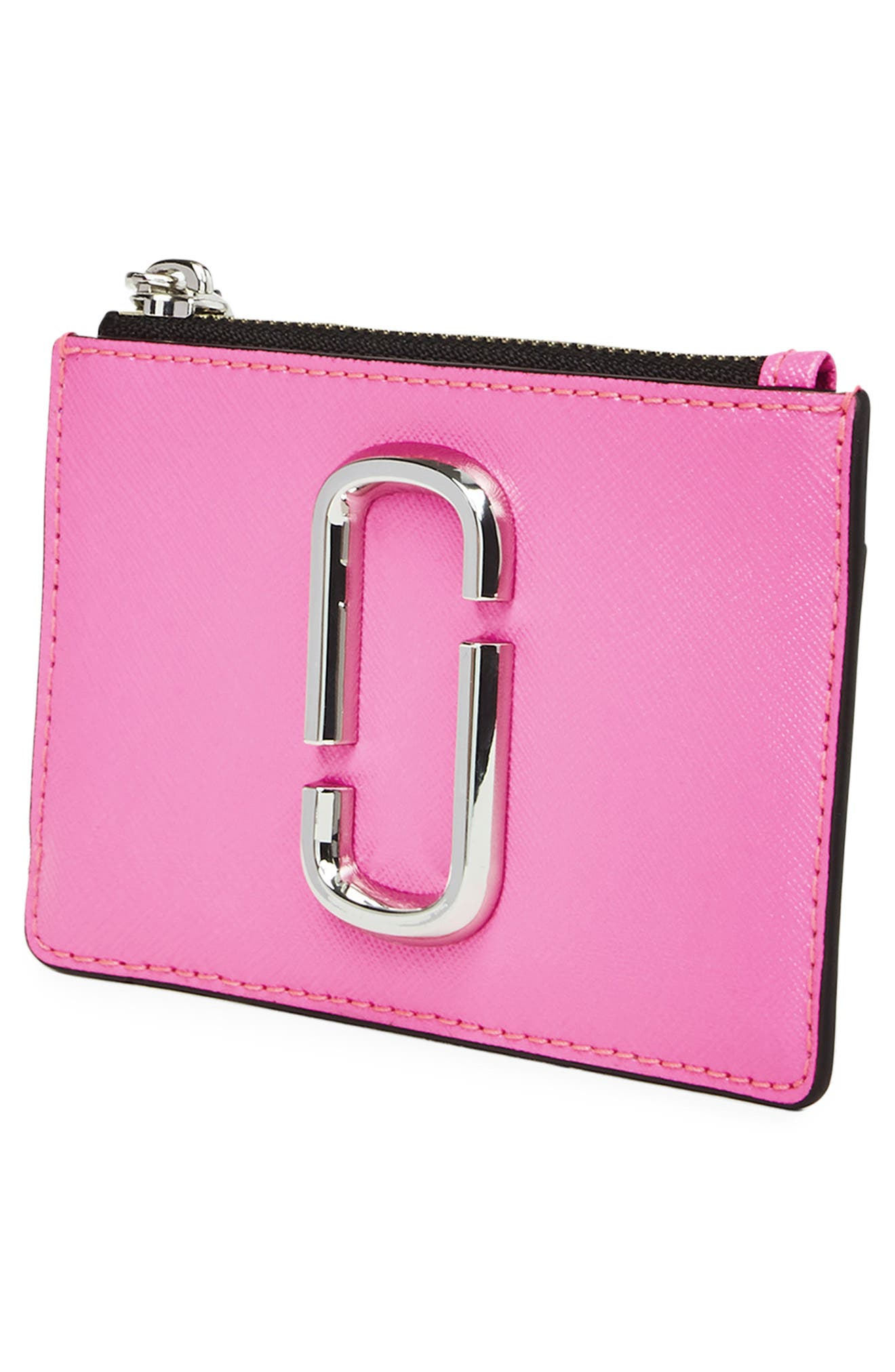 Snapshot Small Leather Wallet,                             Alternate thumbnail 3, color,                             BRIGHT PINK MULTI