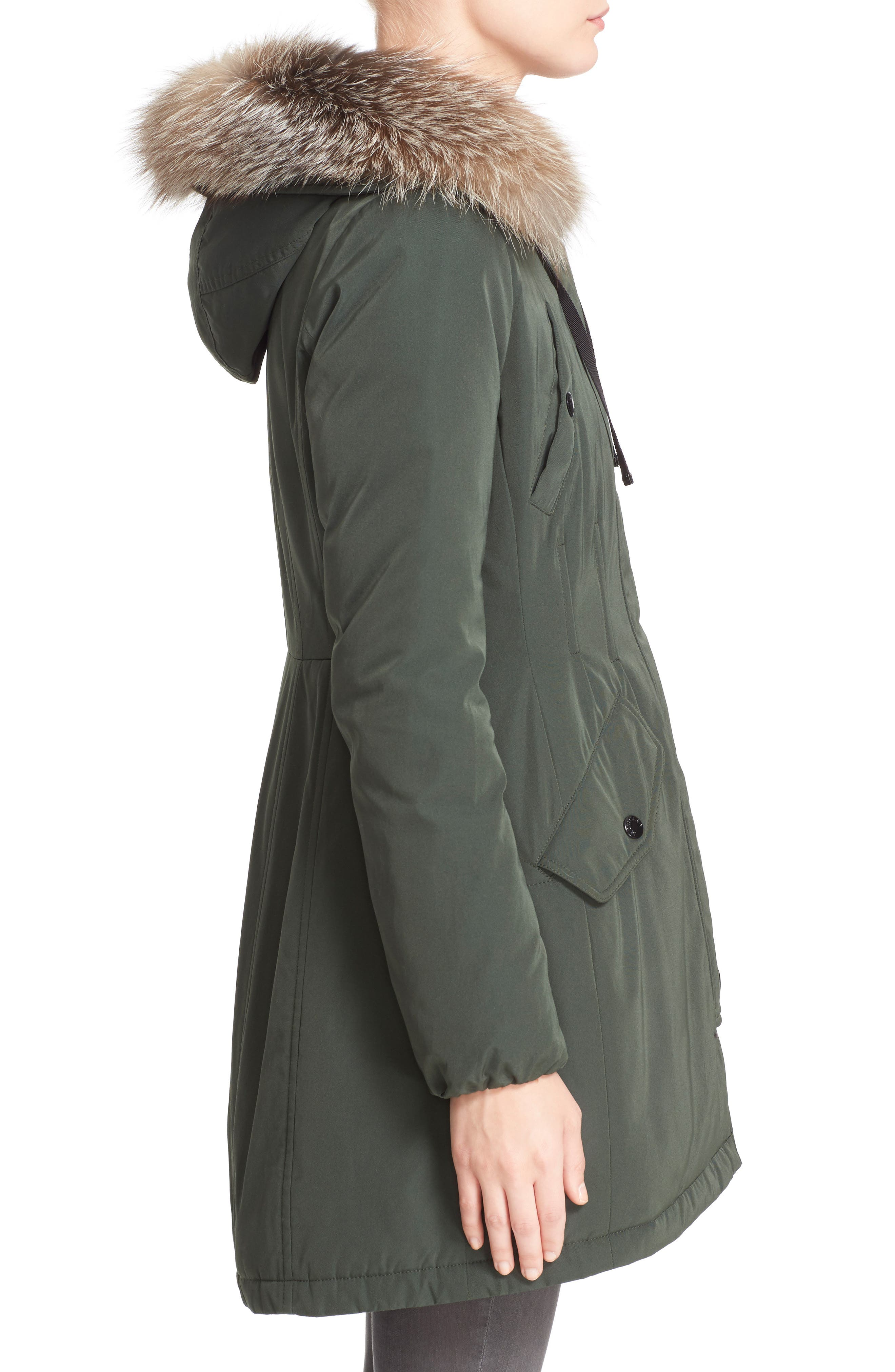 Aredhel Hooded Down Parka with Removable Genuine Fox Fur Trim,                             Alternate thumbnail 3, color,                             001