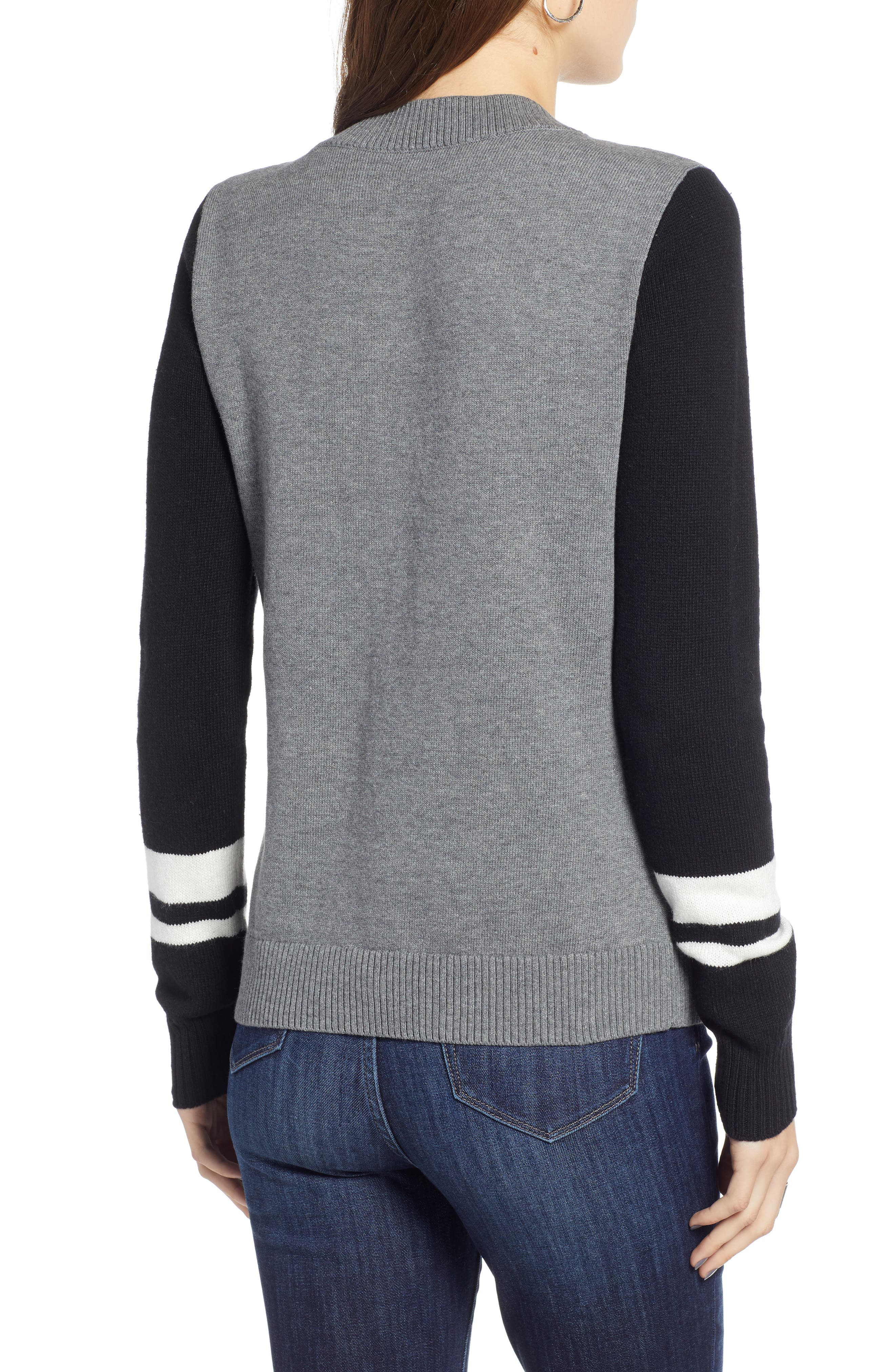 Stripe V-Neck Sweater,                             Alternate thumbnail 2, color,                             GREY HEATHER COMBO
