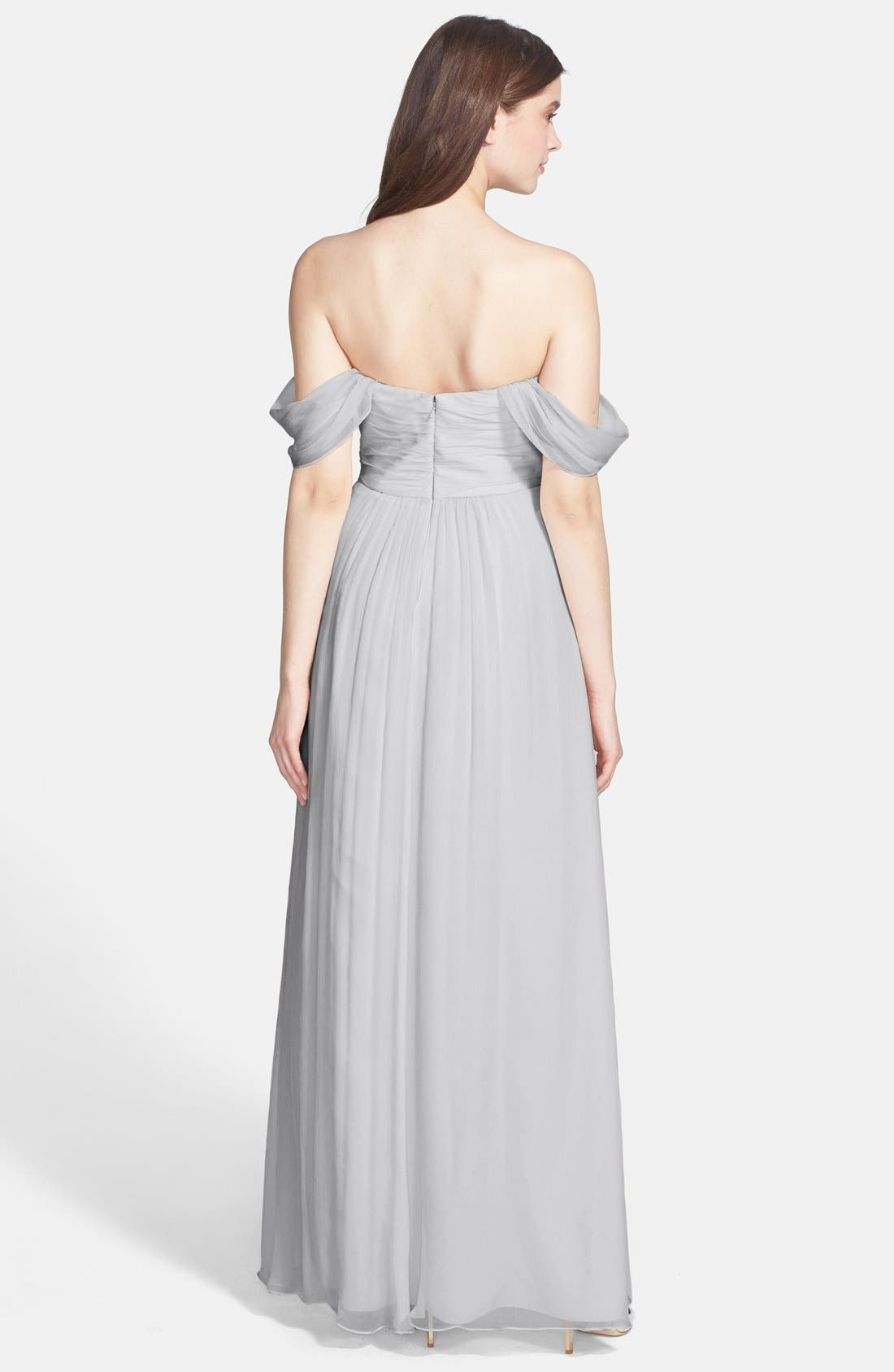 Convertible Crinkled Silk Chiffon Gown,                             Alternate thumbnail 14, color,