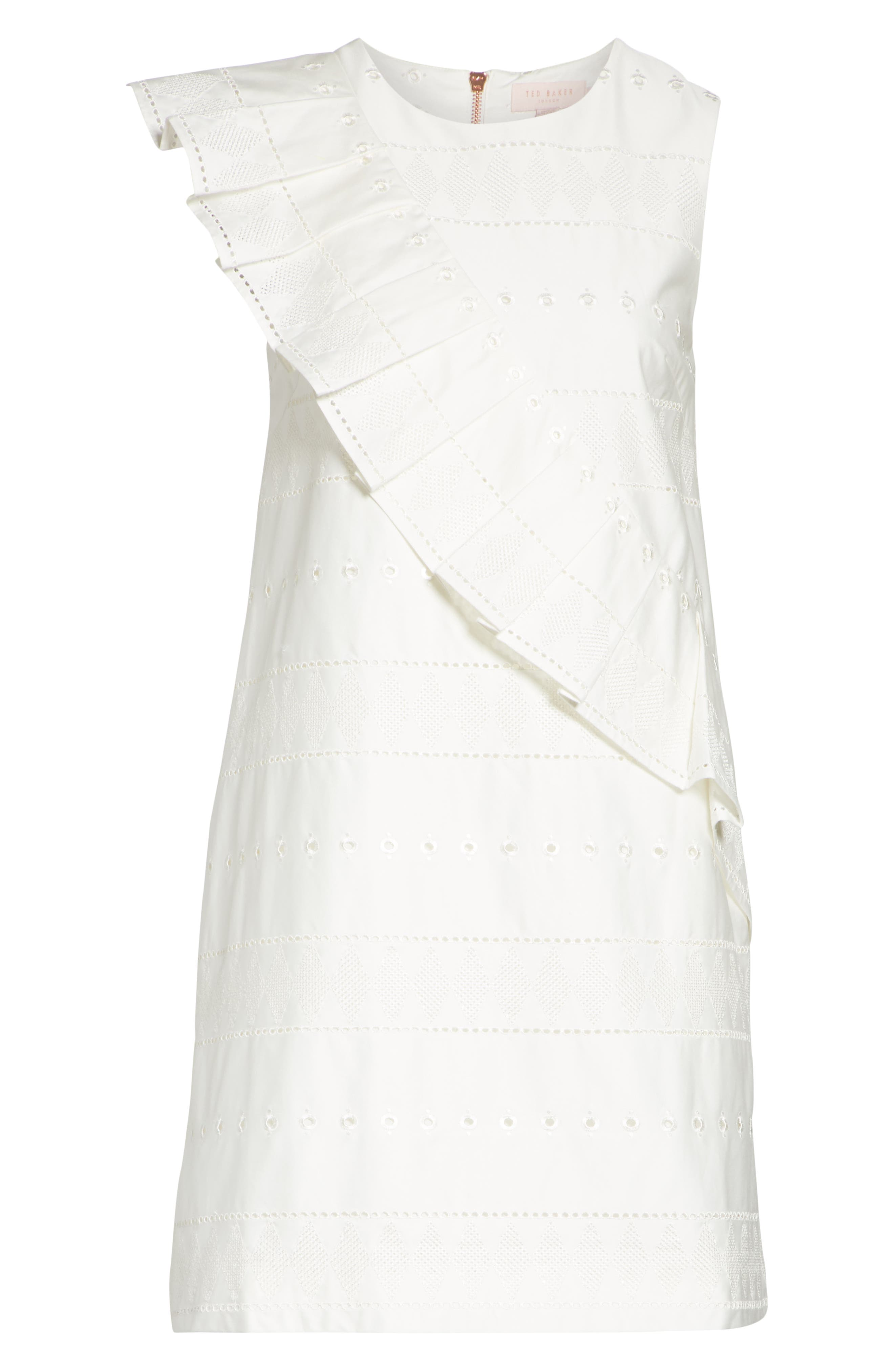Embroidered Ruffle Stretch Cotton Shift Dress,                             Alternate thumbnail 6, color,                             110