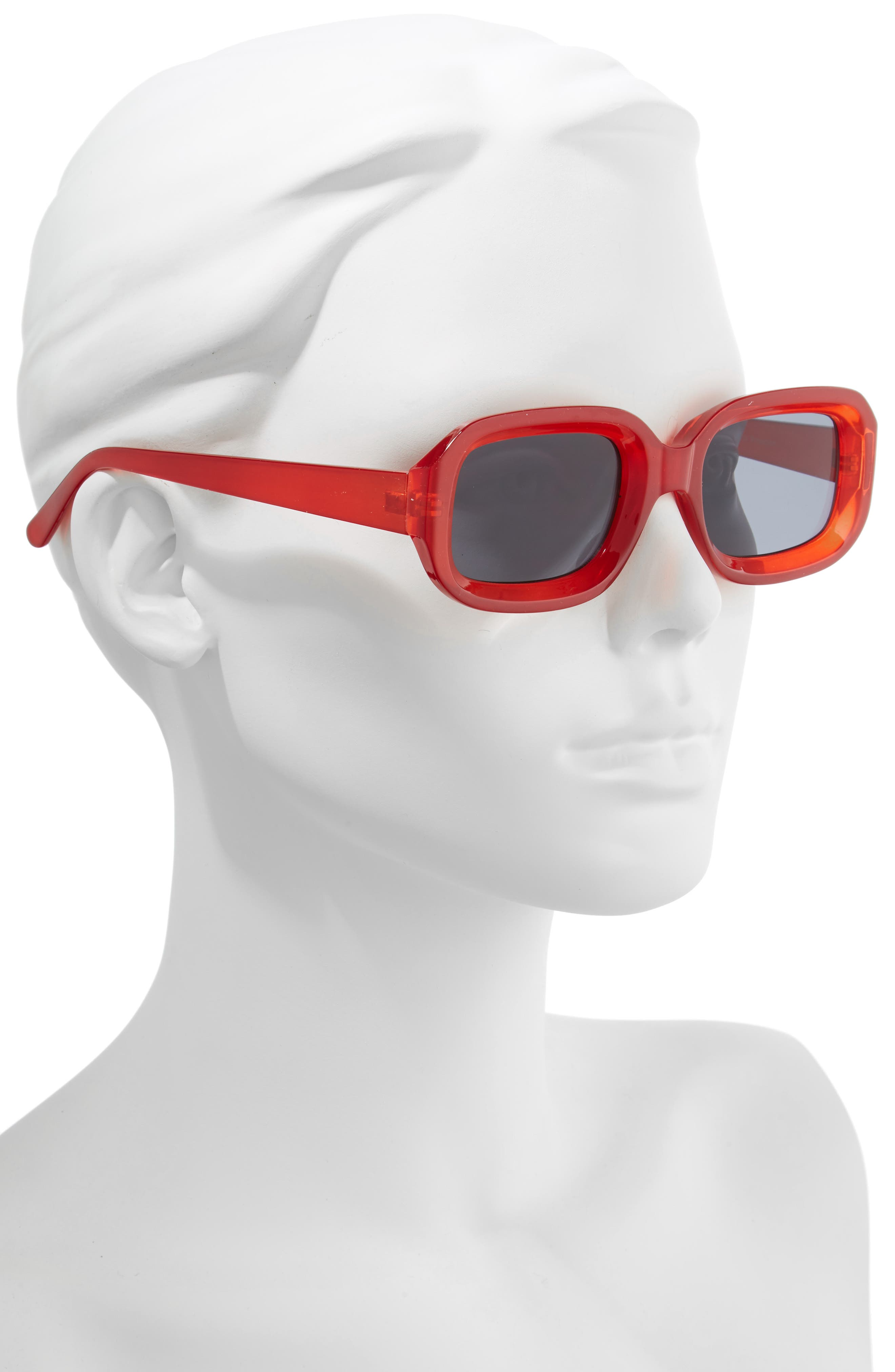 66mm Inset Square Sunglasses,                             Alternate thumbnail 2, color,                             RED/ BLACK