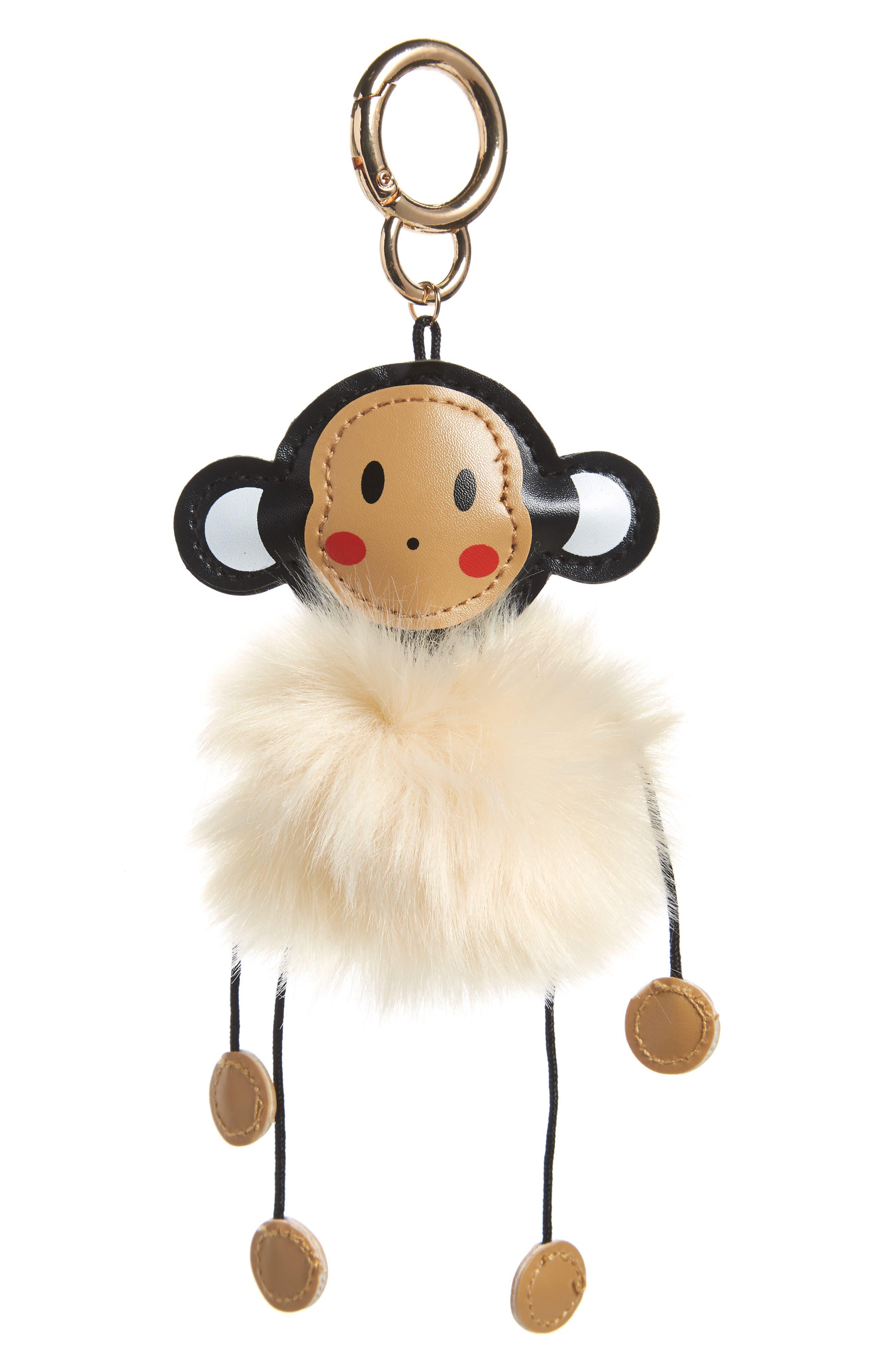 Faux Fur Monkey Bag Charm,                             Main thumbnail 1, color,                             270