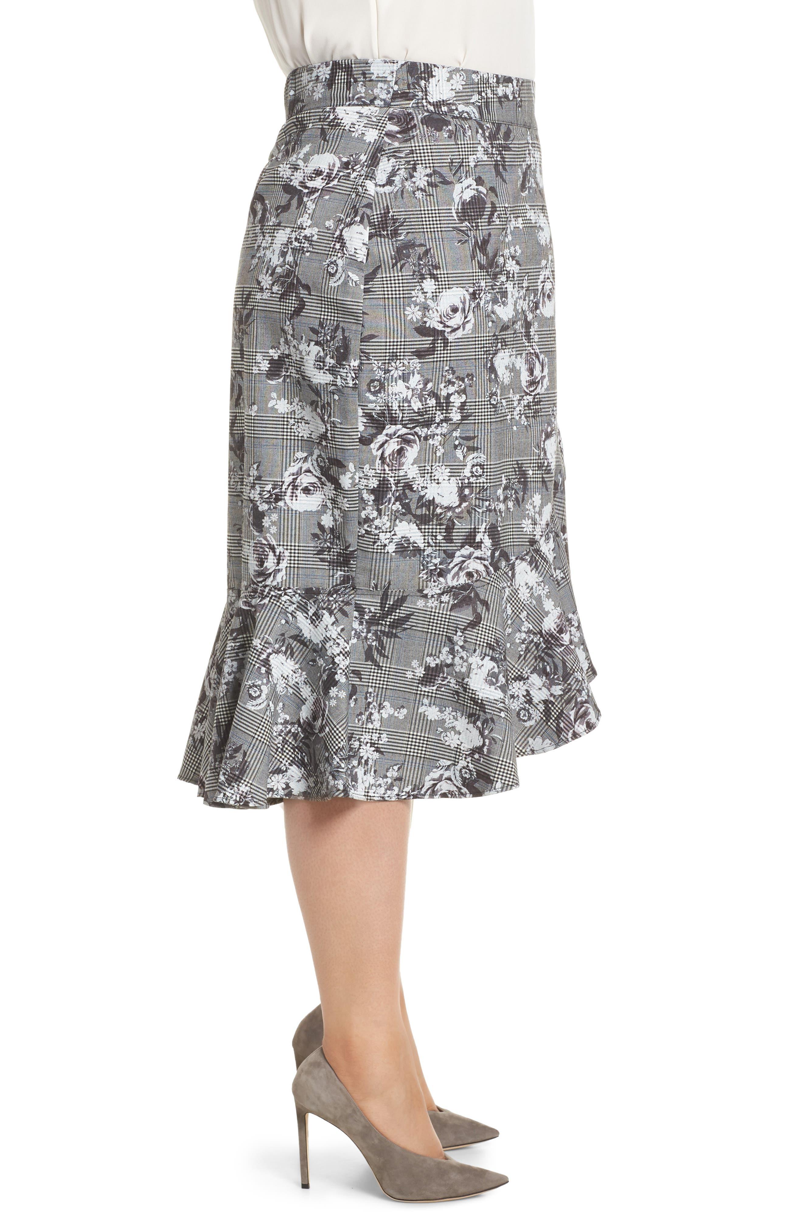 Bailen Pattern Mix Skirt,                             Alternate thumbnail 3, color,                             GREY COMBO