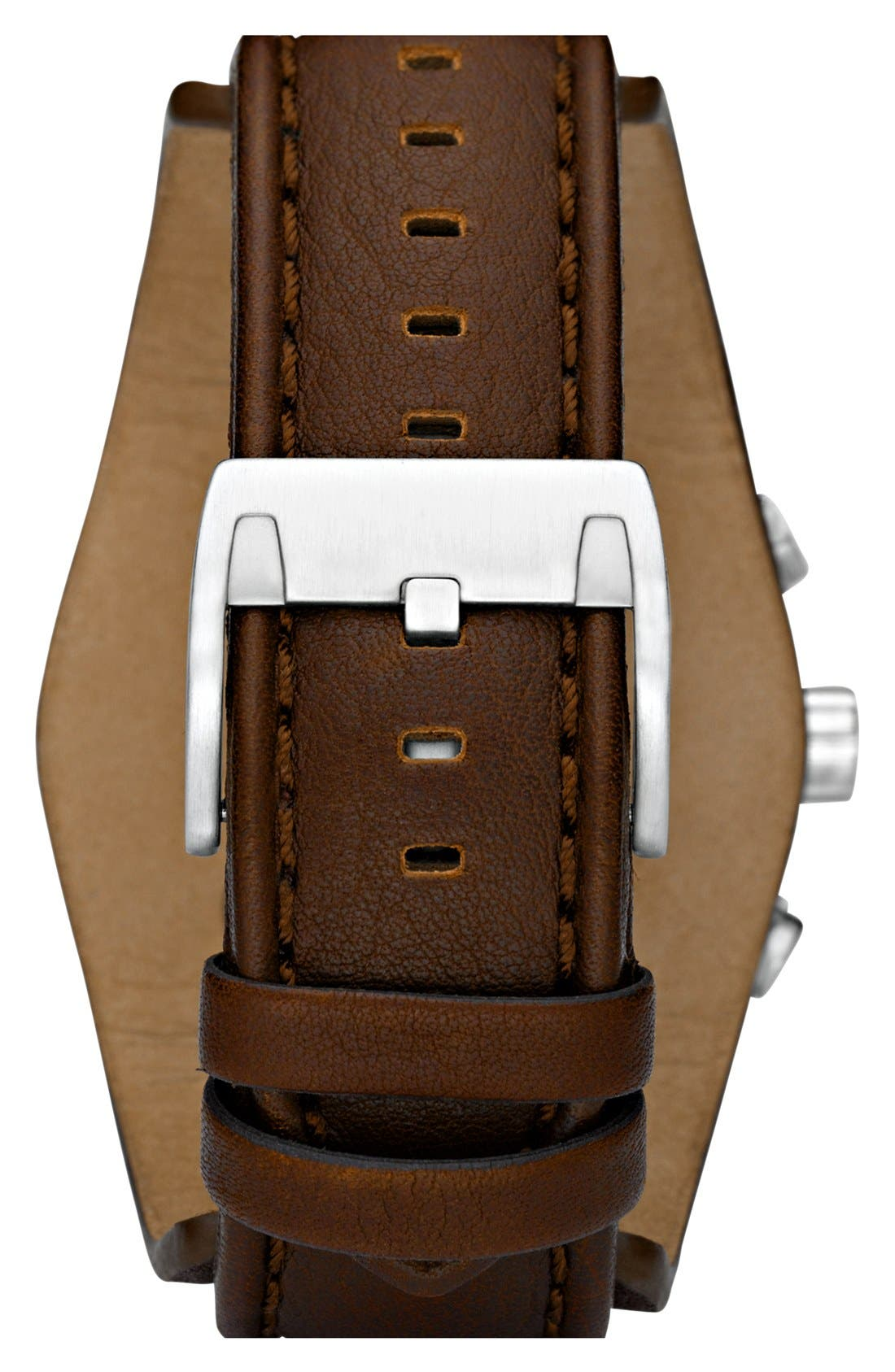 FOSSIL,                             Chronograph Cuff Watch, 44mm,                             Alternate thumbnail 2, color,                             BROWN