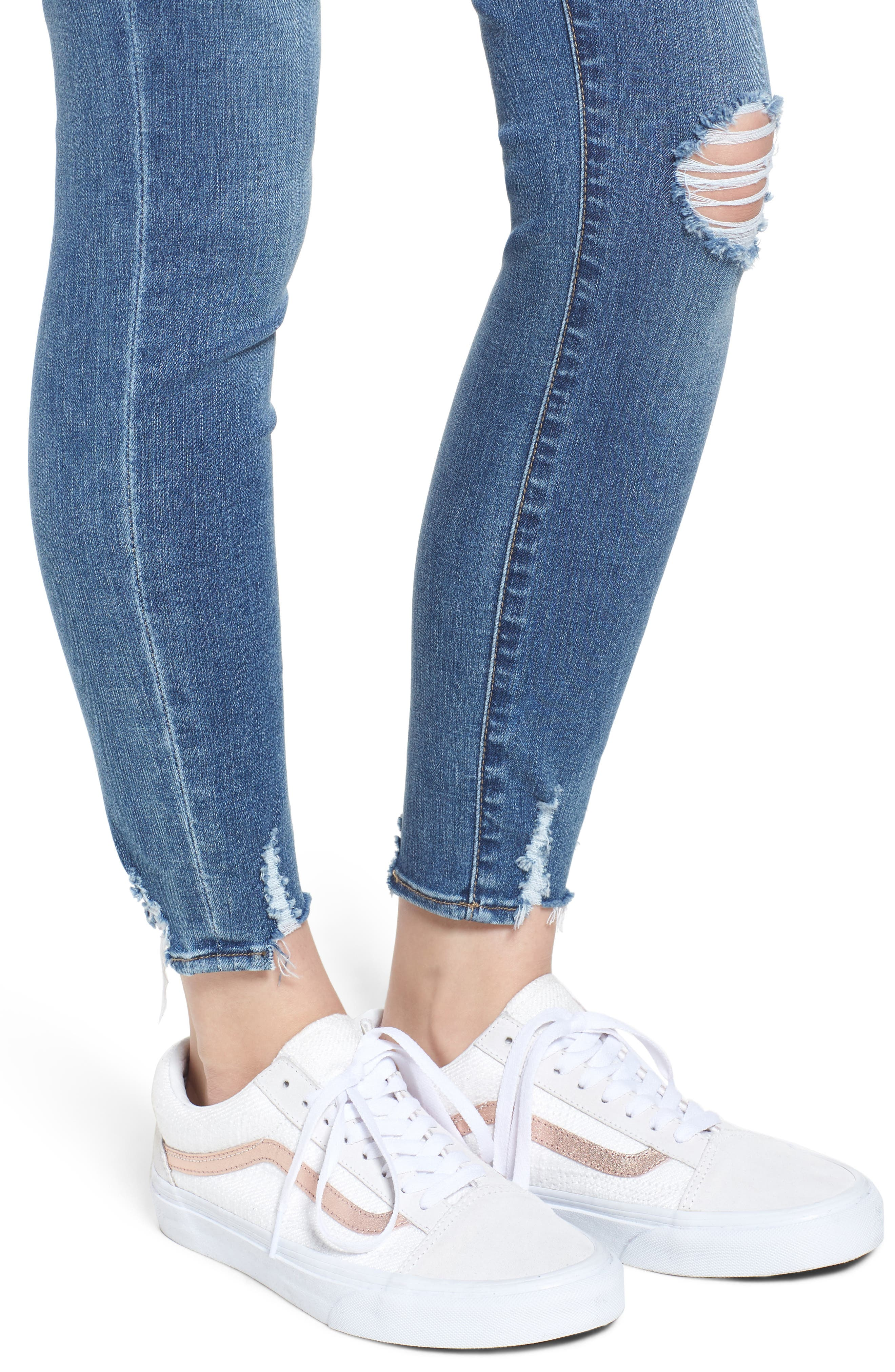 Heather High Waist Distressed Skinny Jeans,                             Alternate thumbnail 4, color,                             453