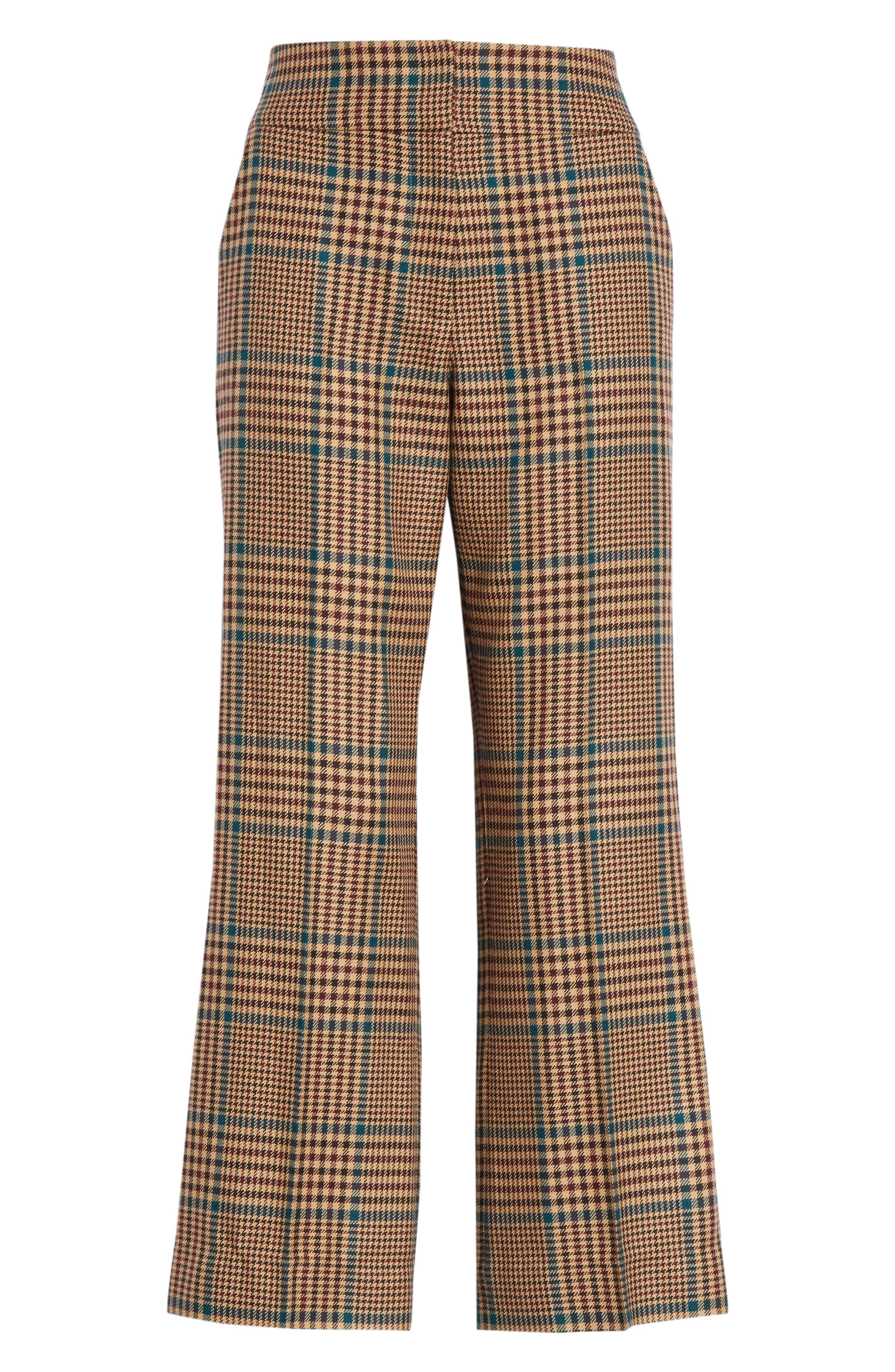 Cormac Plaid Wool Blend Trousers,                             Alternate thumbnail 6, color,                             230