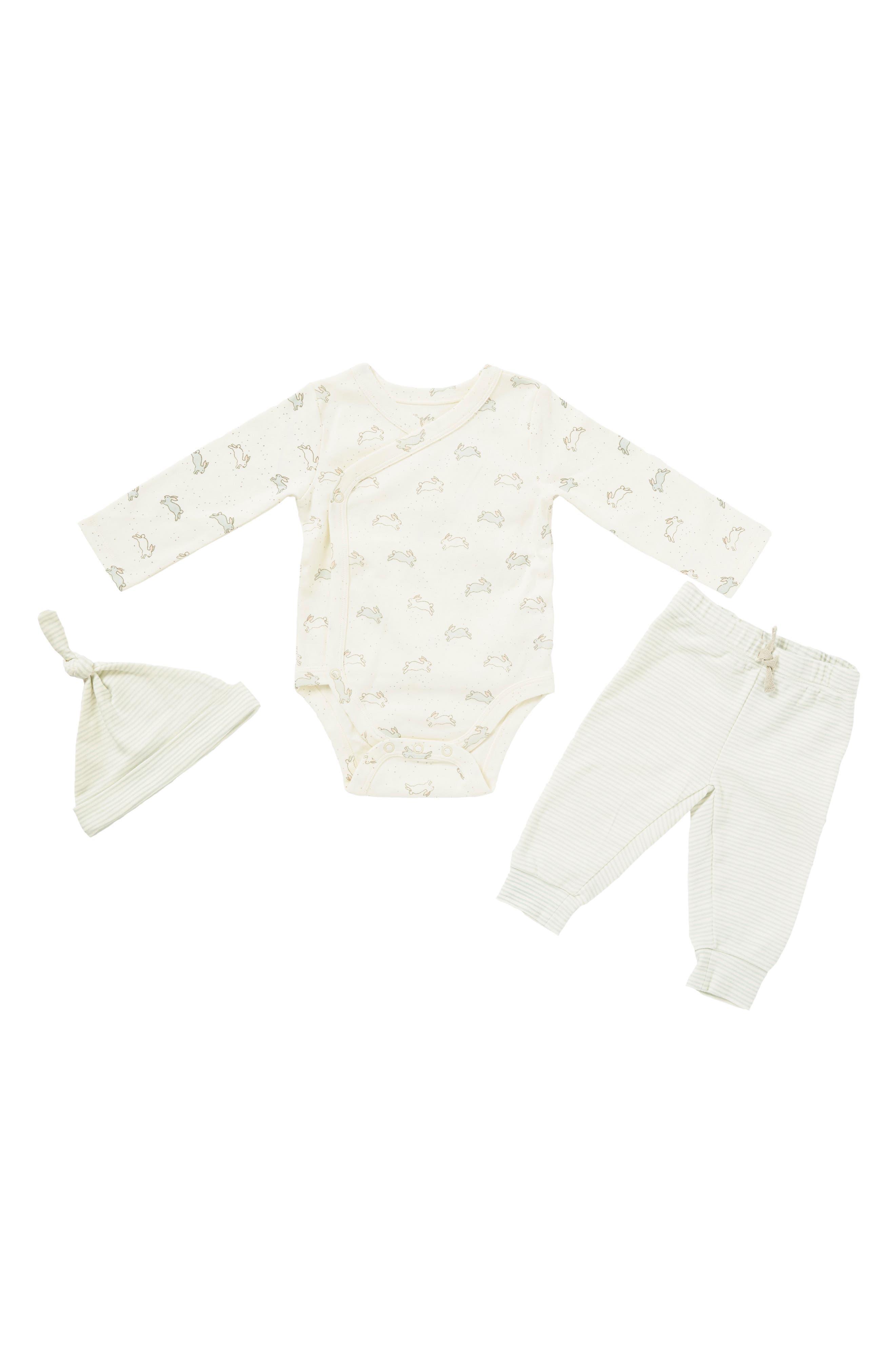 Tiny Bunny Bodysuit, Pants & Hat Set,                             Main thumbnail 1, color,